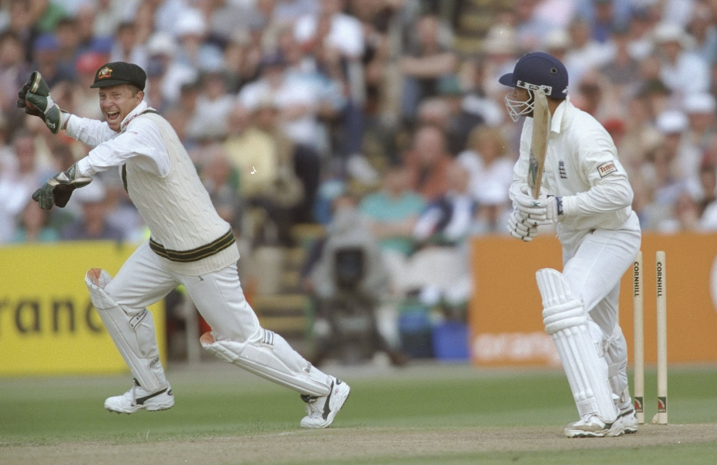 Healy celebrates his stumping of Mark Butcher in 1997 // Getty
