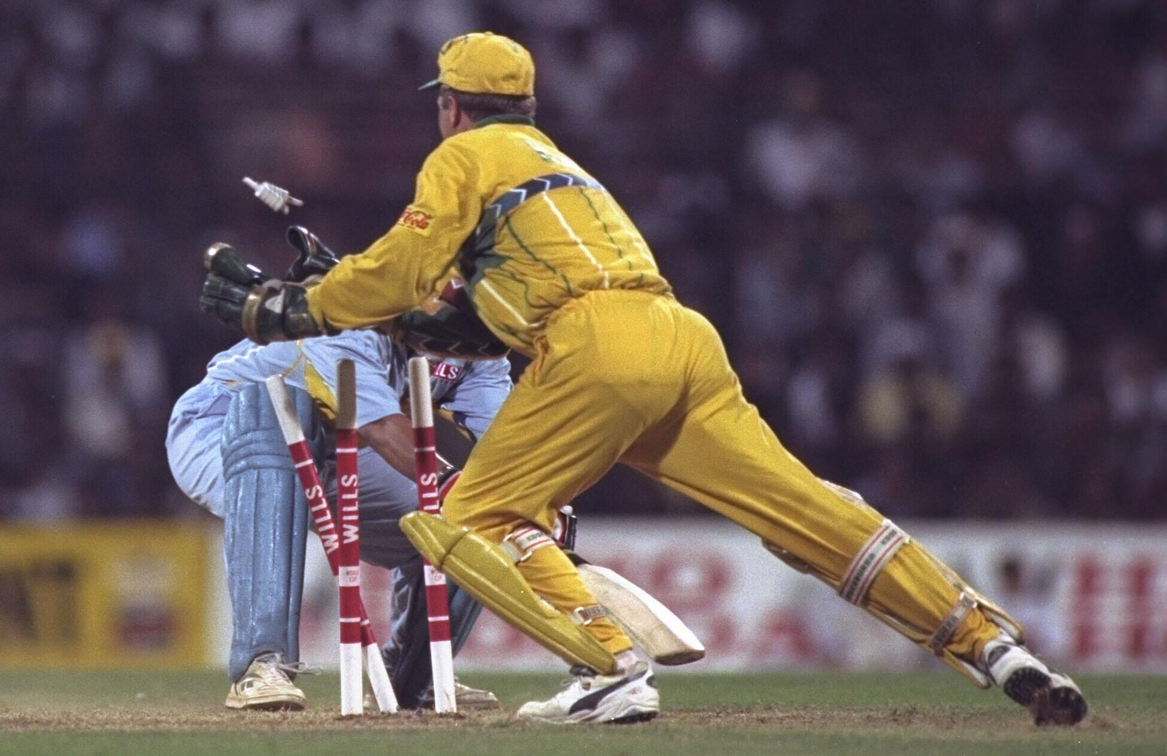 Healy stumps Sachin Tendulkar at the 1996 World Cup // Getty
