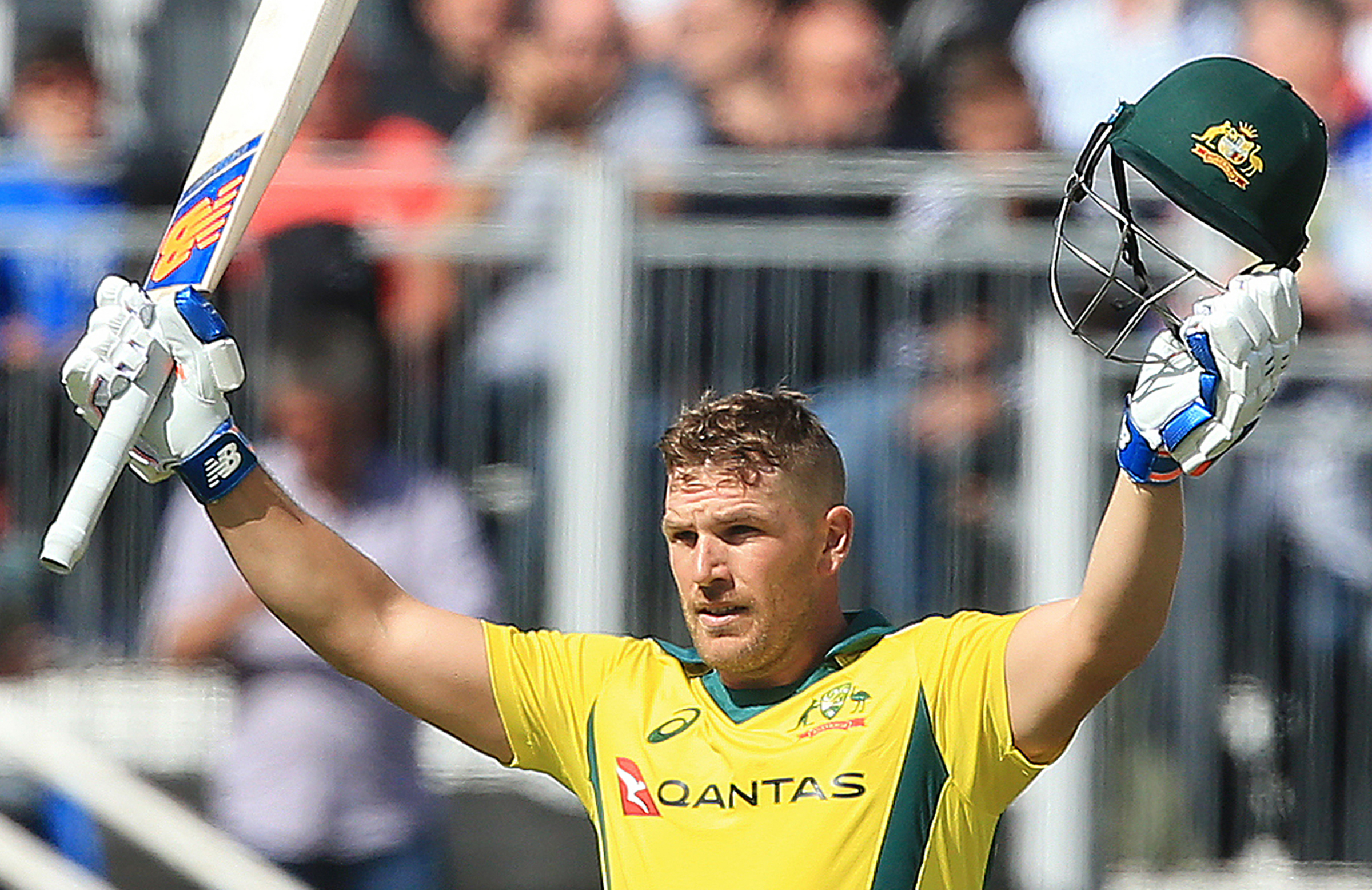 Aaron Finch's 11th ODI century went in vain // Getty