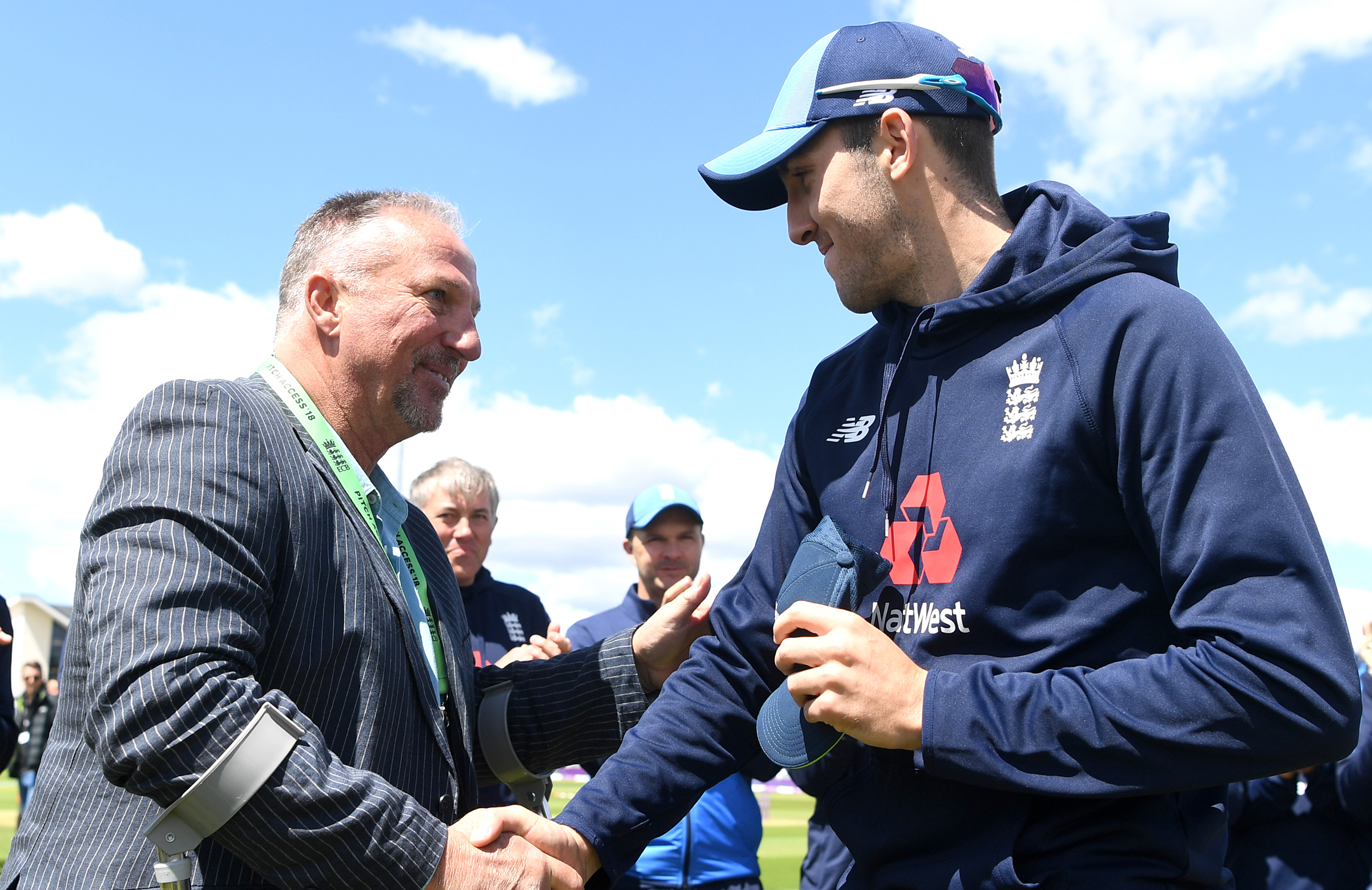Sir Ian Botham presented Overton with his ODI cap // Getty