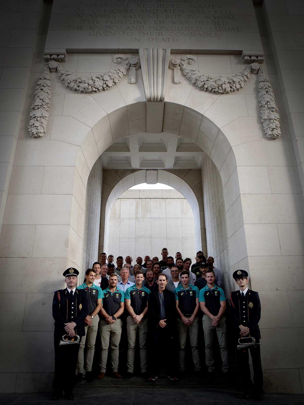 The Australians gathered at Menin Gate // cricket.com.au