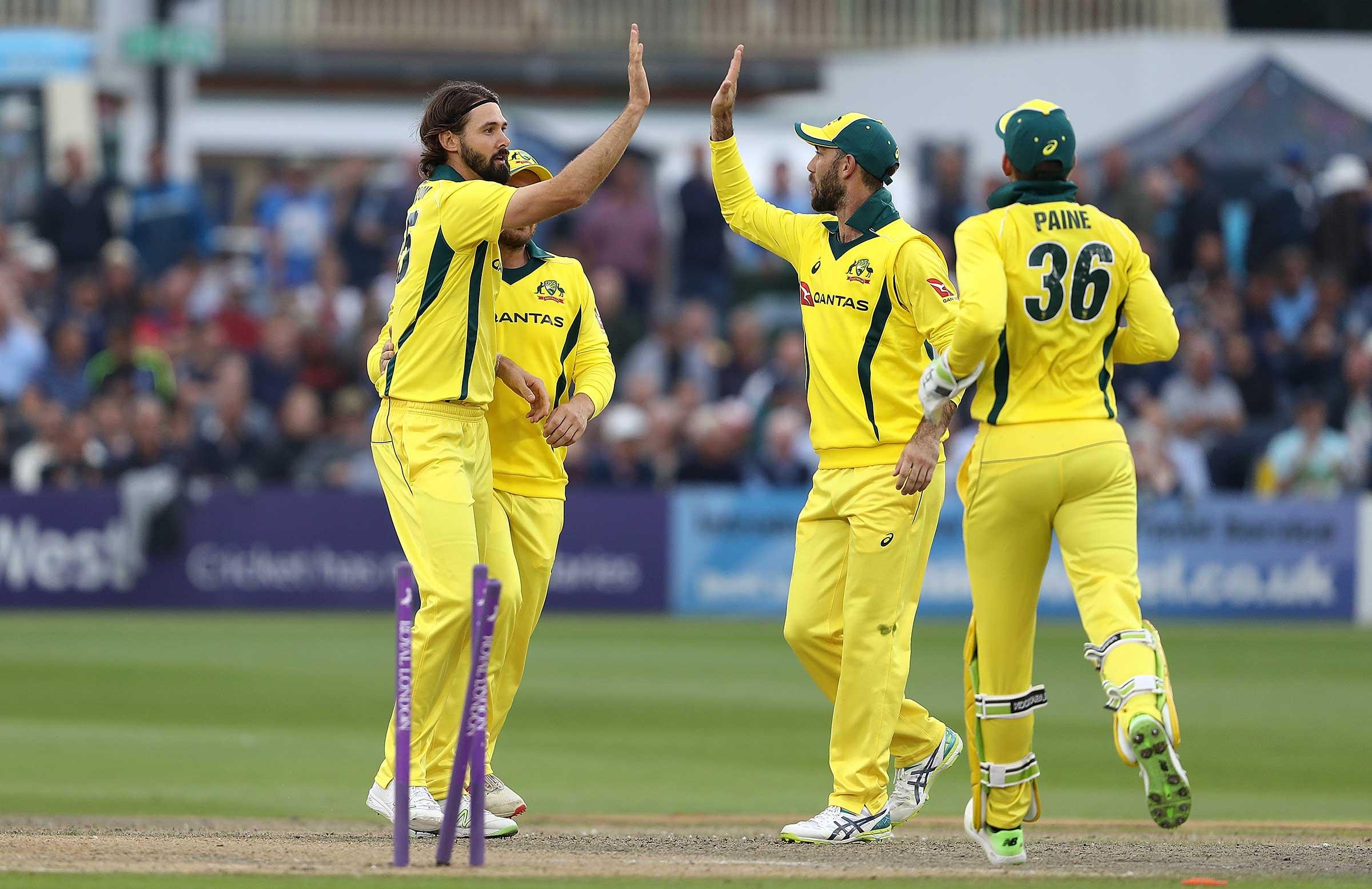 Richardson celebrates his wicket // Getty