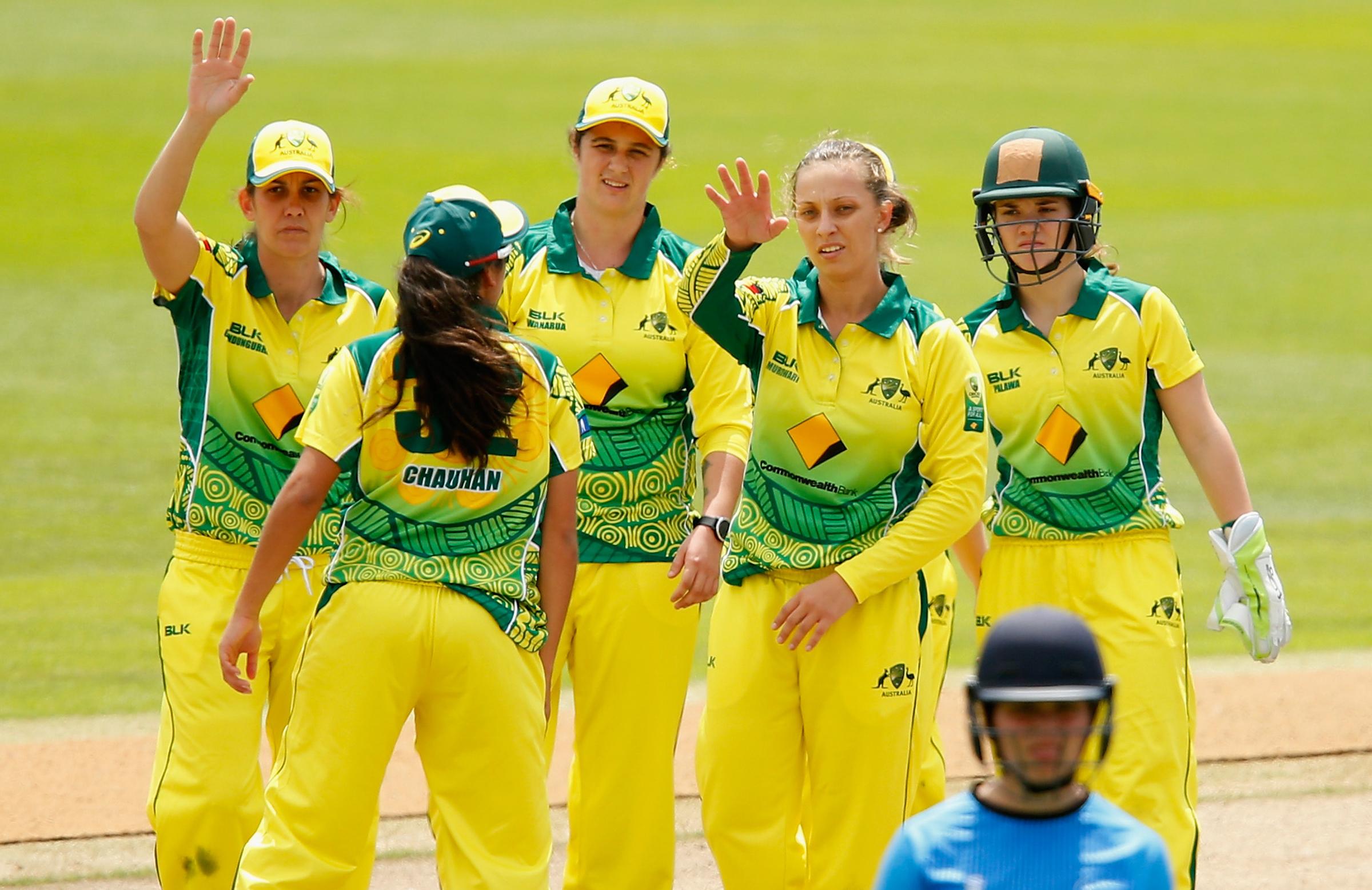 The women's side celebrate a wicket // Cricket Network