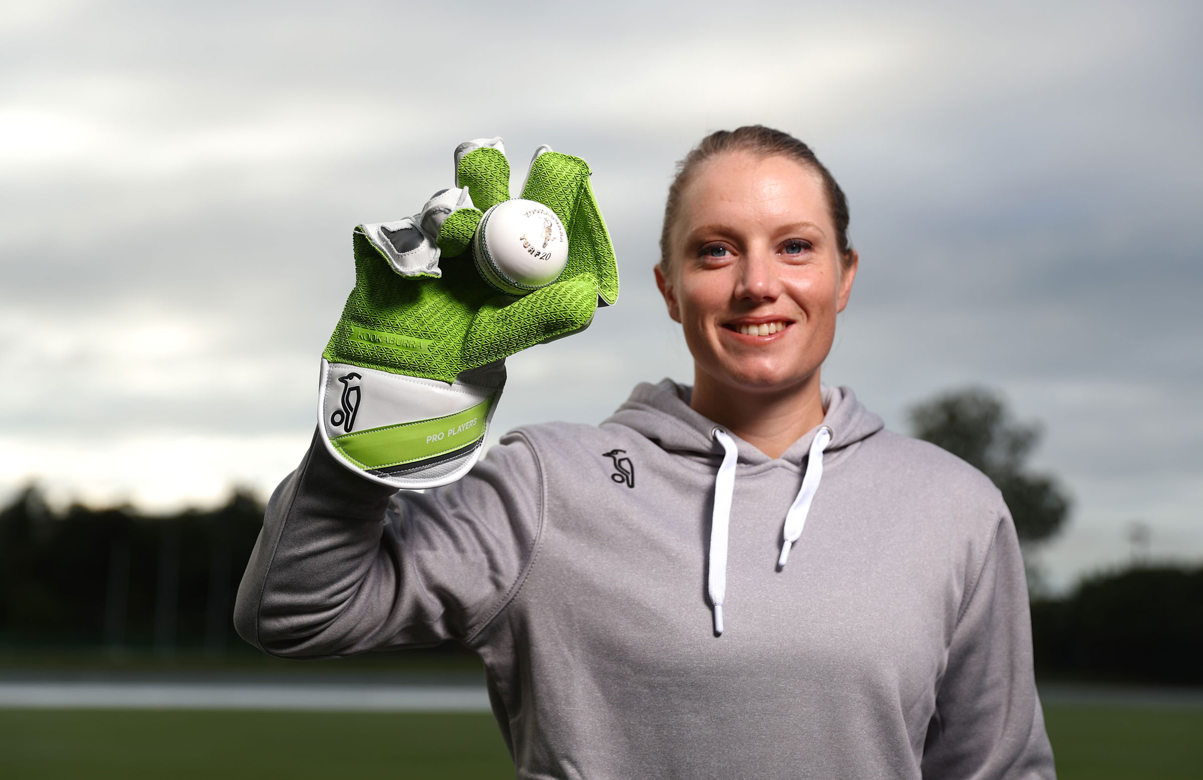Australia wicketkeeper Alyssa Healy with the new Turf20 ball // supplied