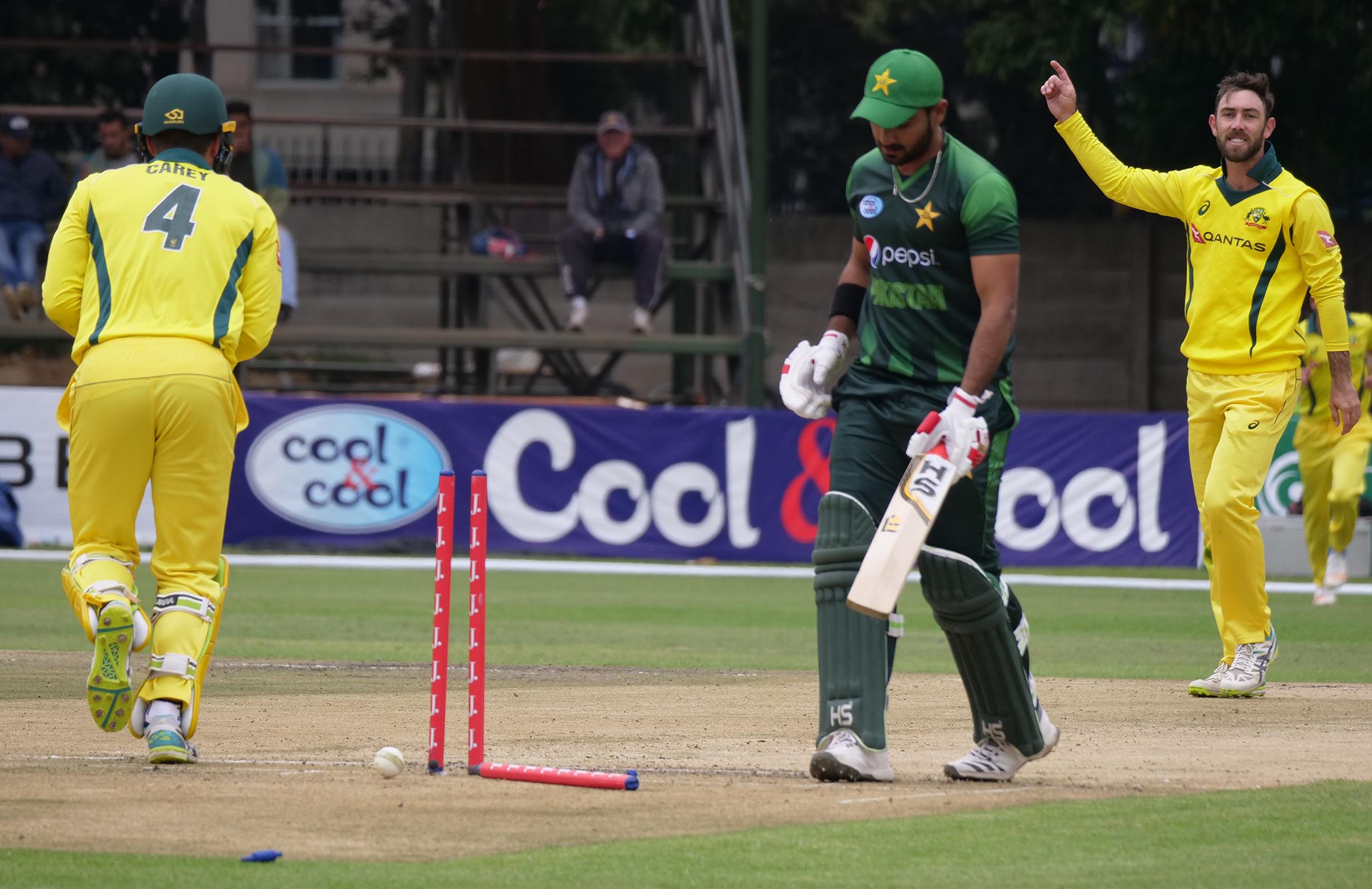 Maxwell celebrates his wicket of Talat // Cricket.com.au