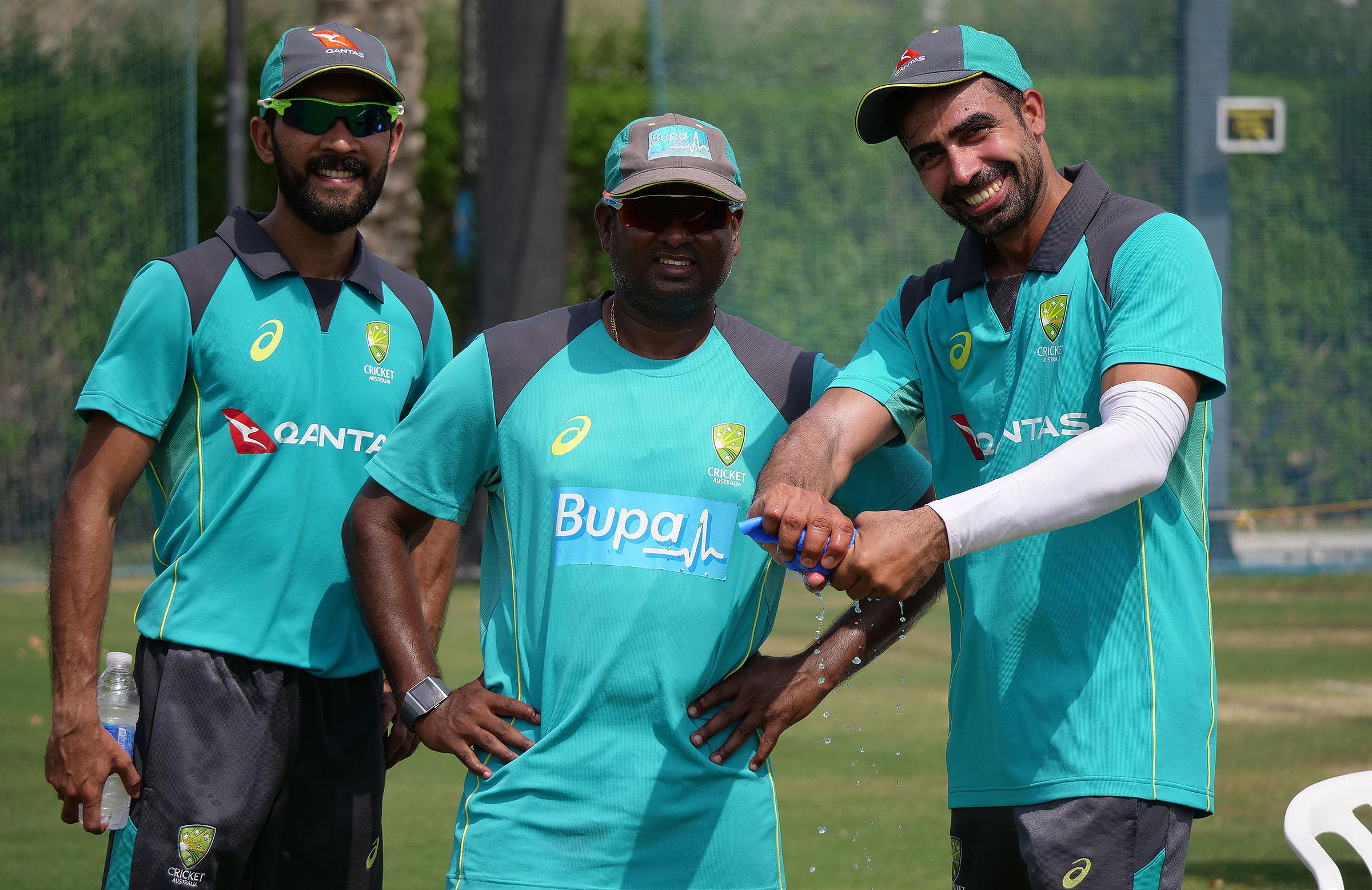 Jiyas, Sriram and Sahu at Australian training // cricket.com.au