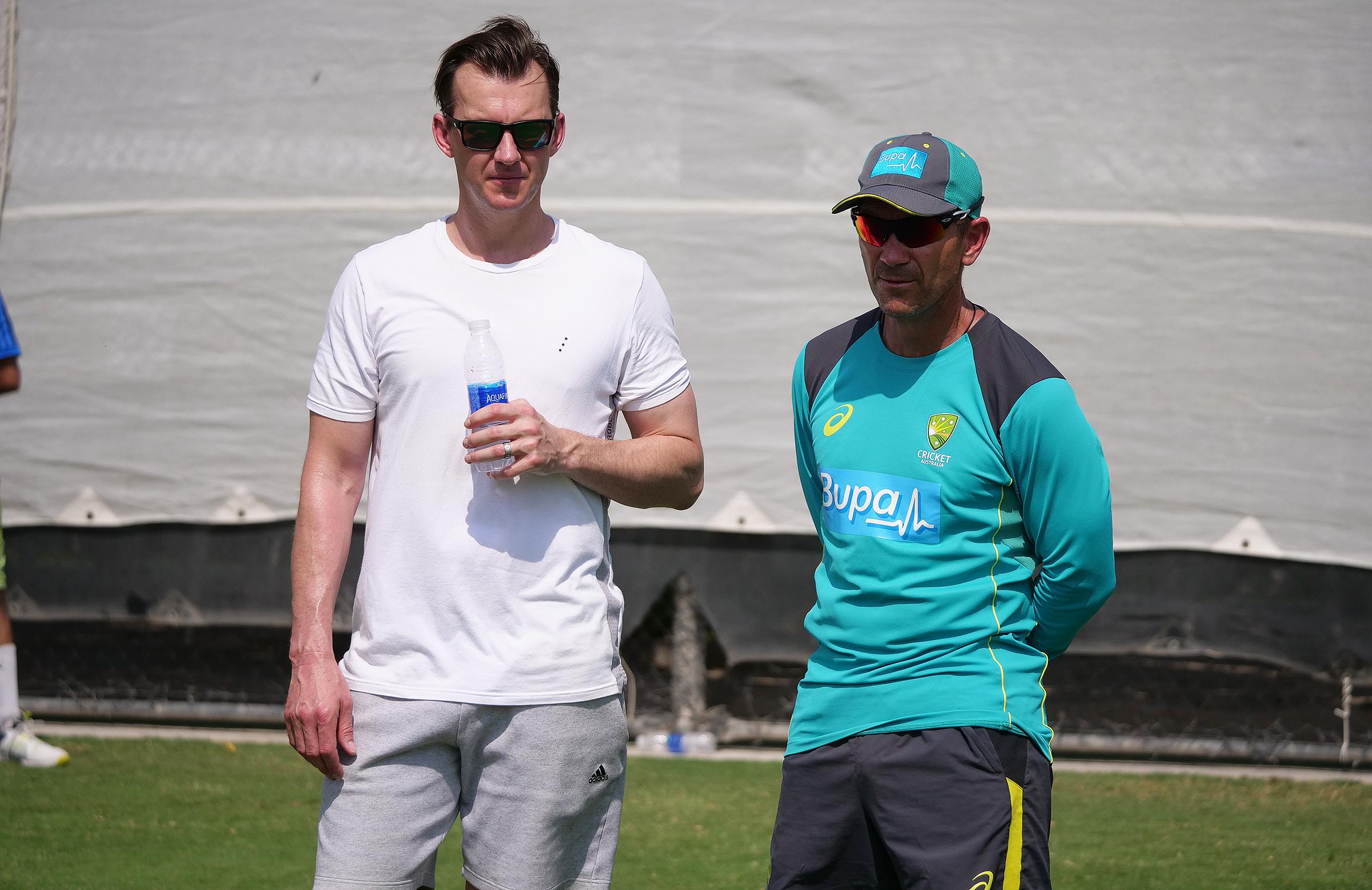 Lee with coach Justin Langer at Australian training // cricket.com.au