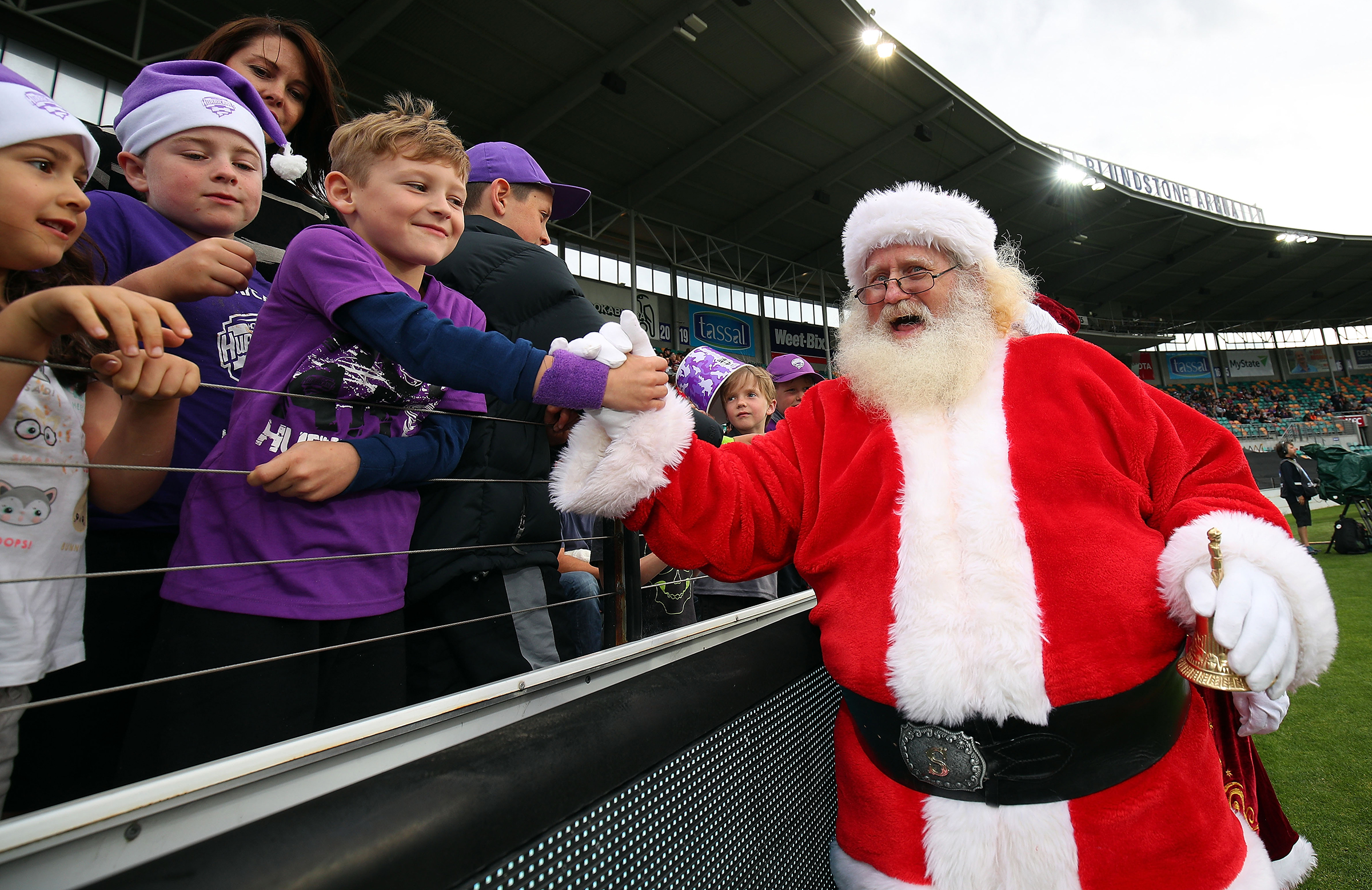 Santa greets the fans at Blundstone Arena last season // Getty