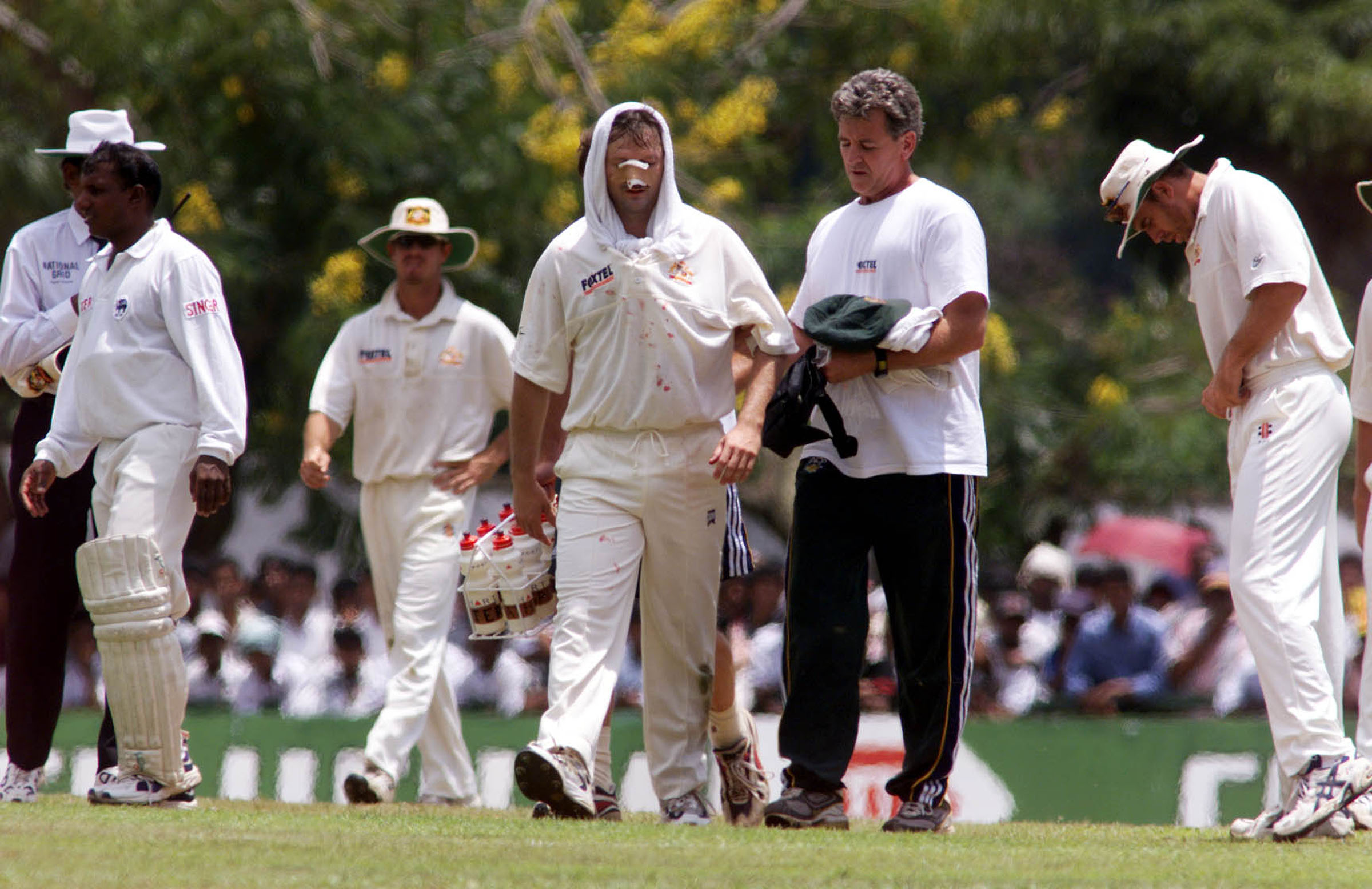 A battered Waugh after his collision with Jason Gillespie // Getty