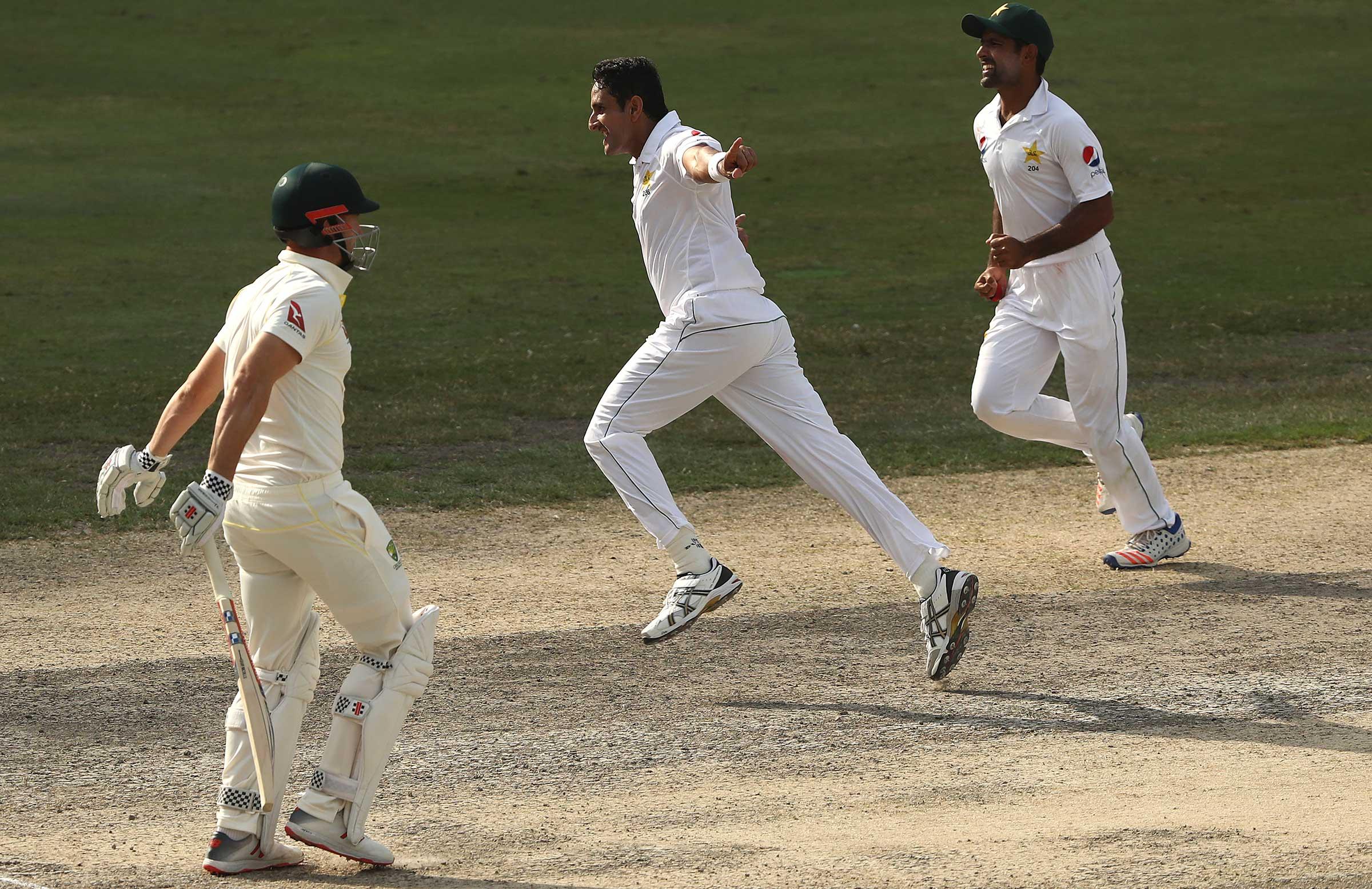 Mo Abbas celebrates nicking off Shaun Marsh // Getty