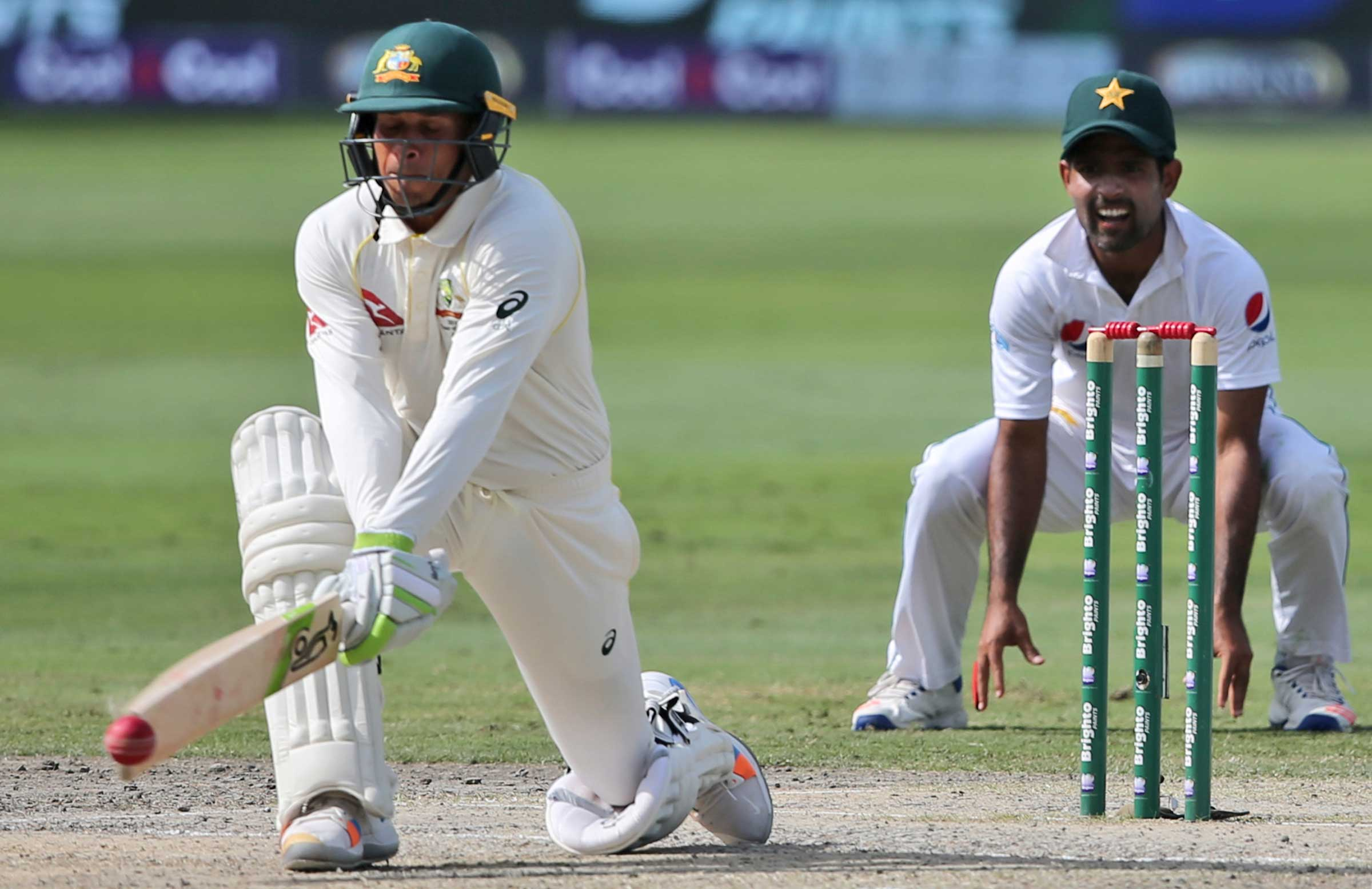 Khawaja used the reverse sweep to great effect // Getty