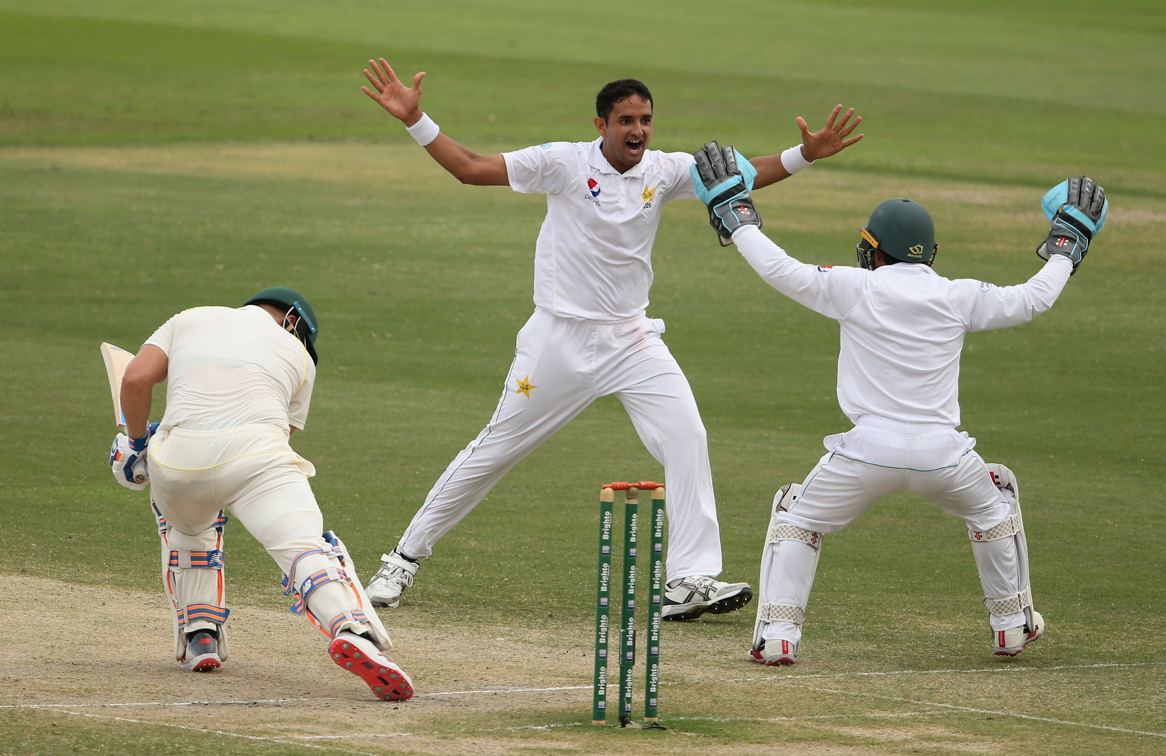 Mohammad Abbas celebrates a wicket
