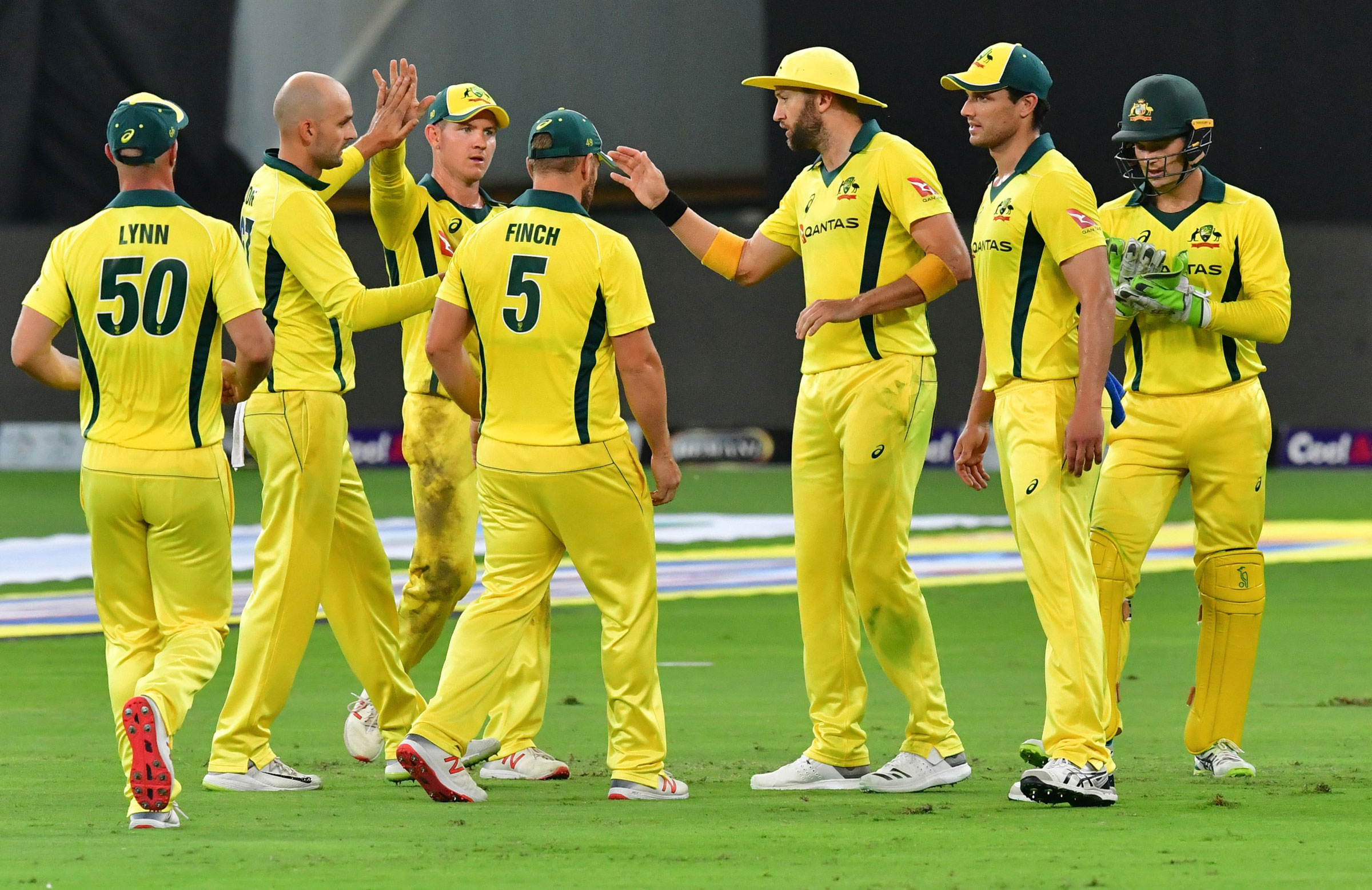 Australia's bowlers celebrate a wicket // Getty Images