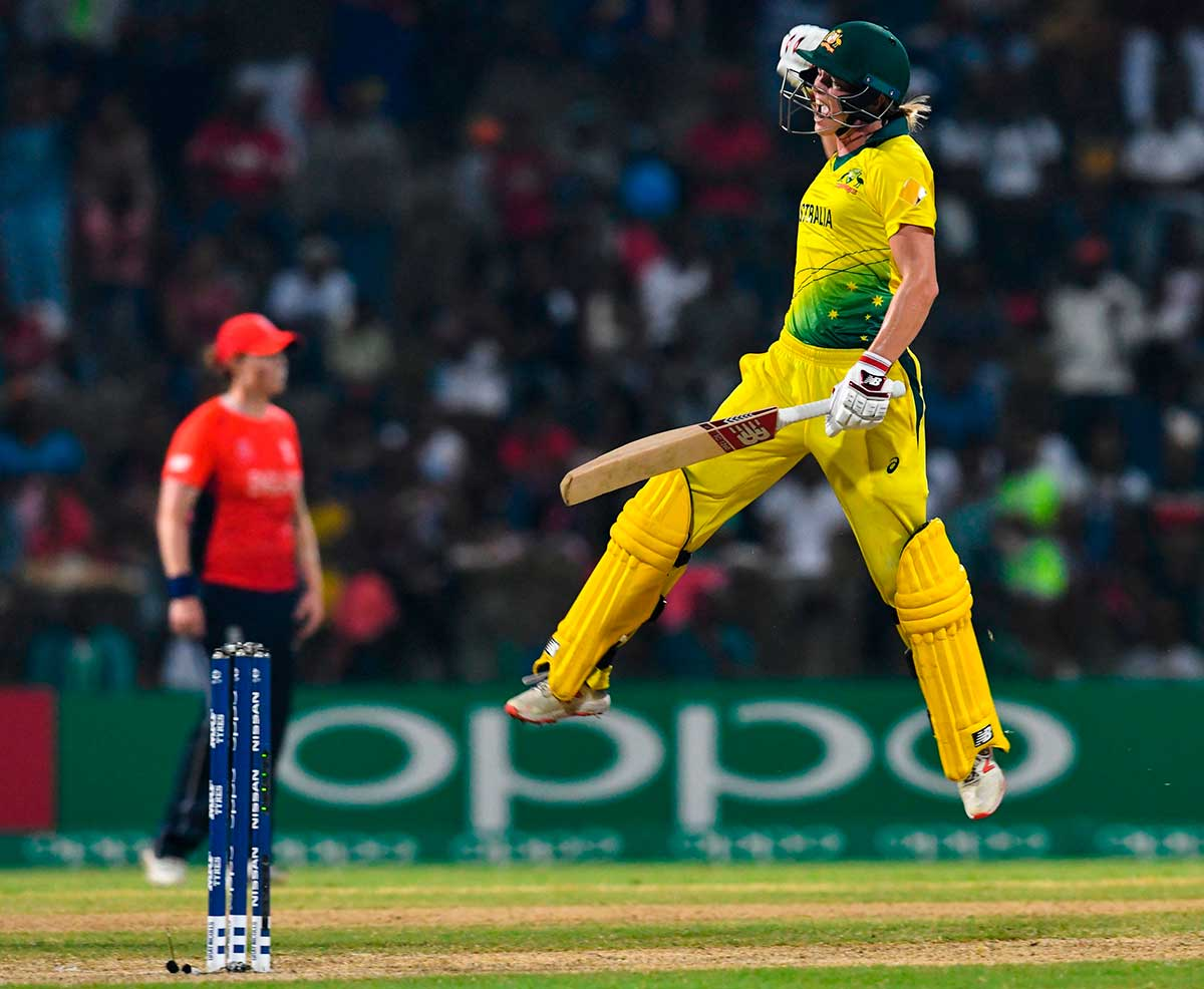 Lanning leaps after hitting winning runs // Getty