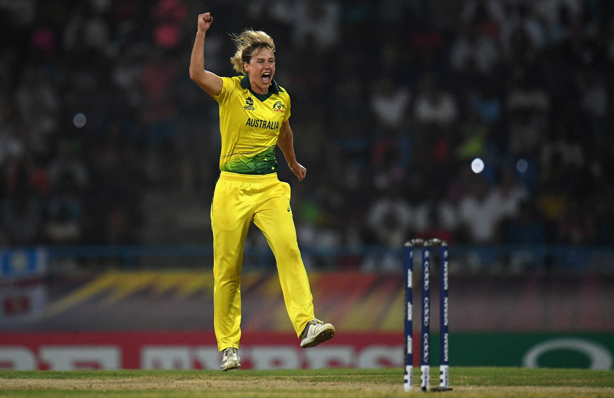 Perry celebrates her 100th T20I scalp // Getty
