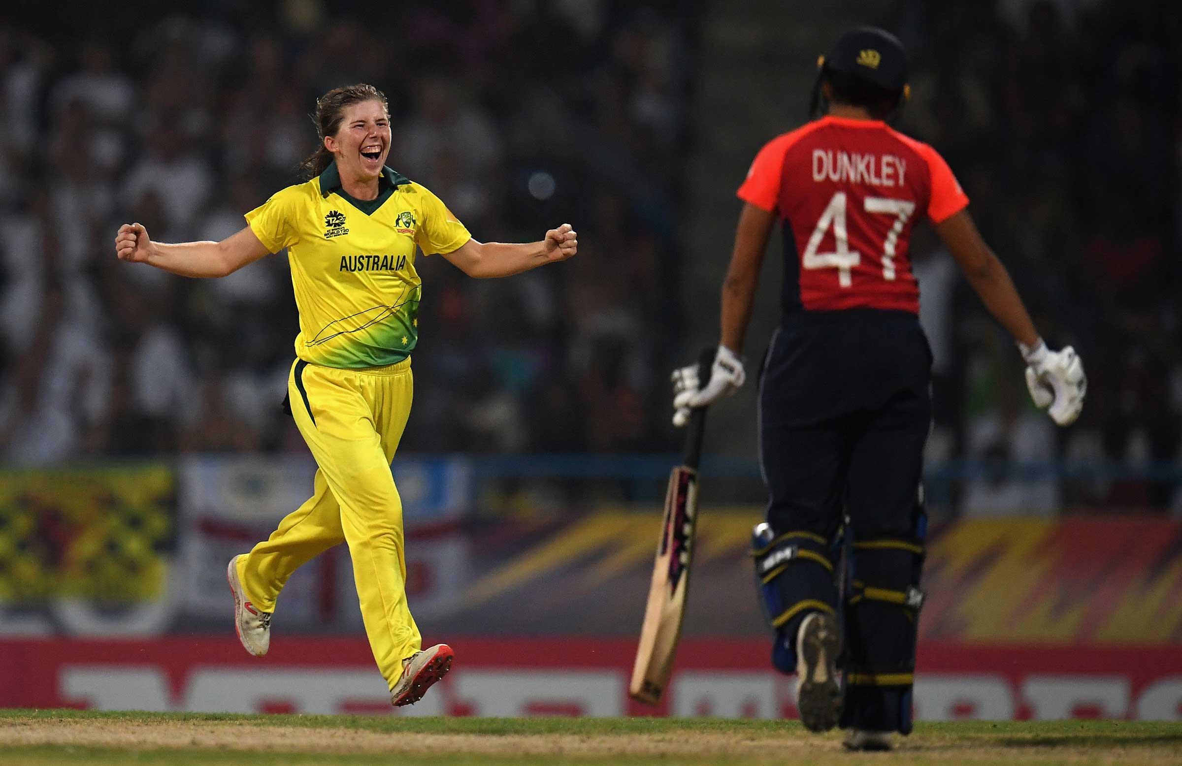 Wareham celebrates her second wicket // Getty