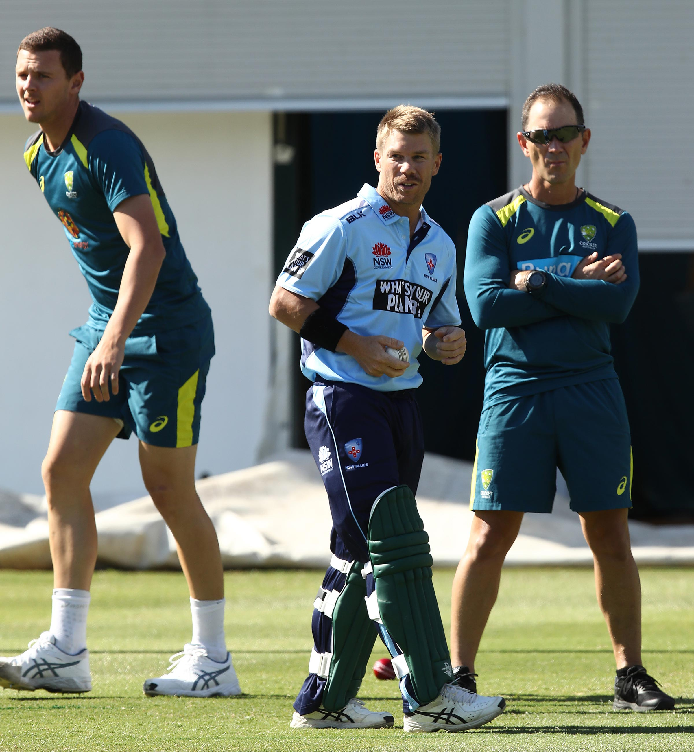 Hazlewood, Warner and Langer in the SCG nets // Getty