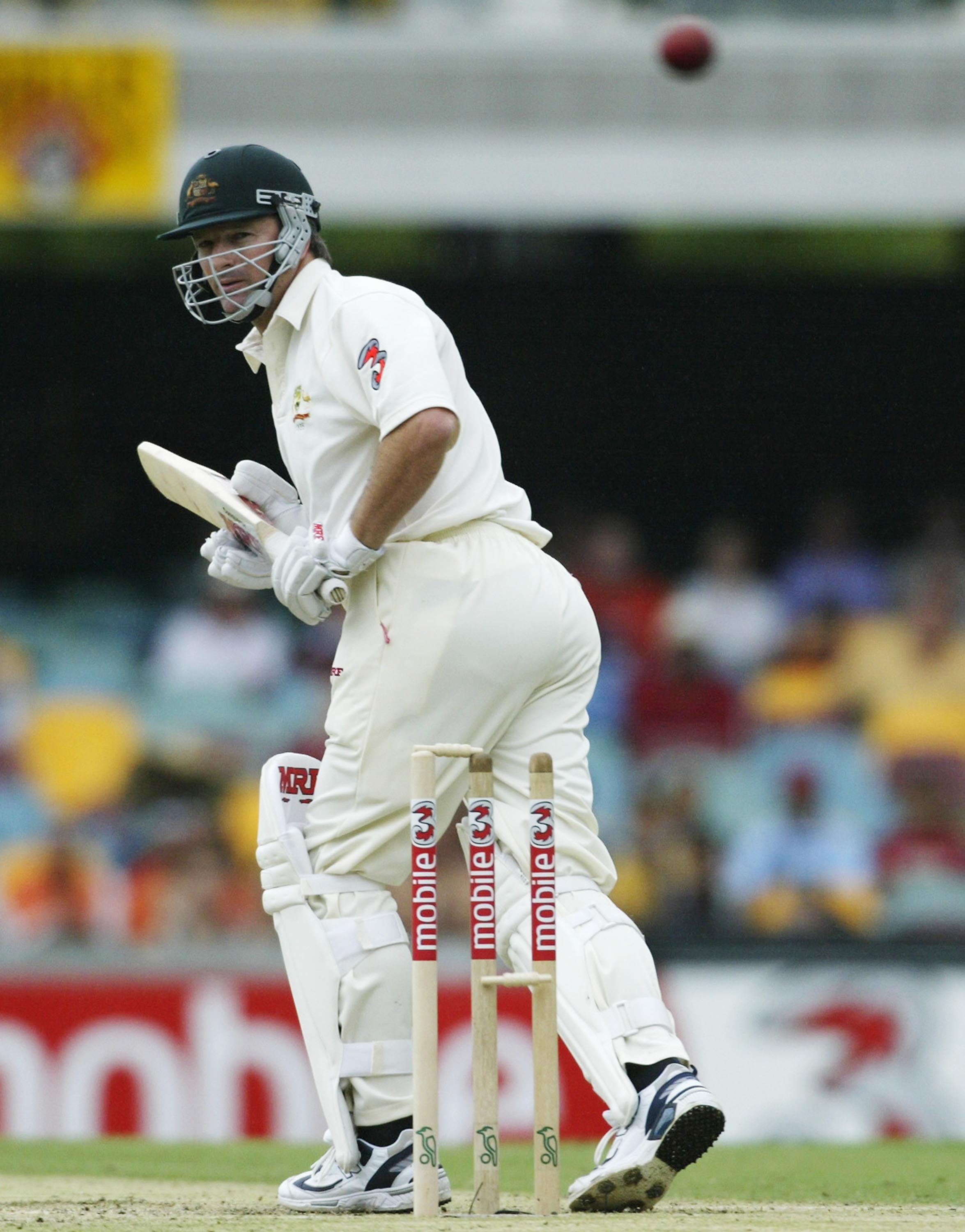 Waugh treads on his stumps in his final Gabba Test // Getty