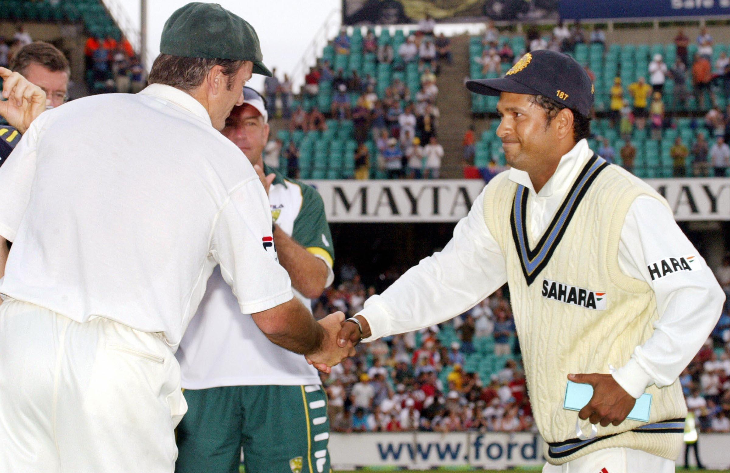 With the great Sachin Tendulkar post match // Getty
