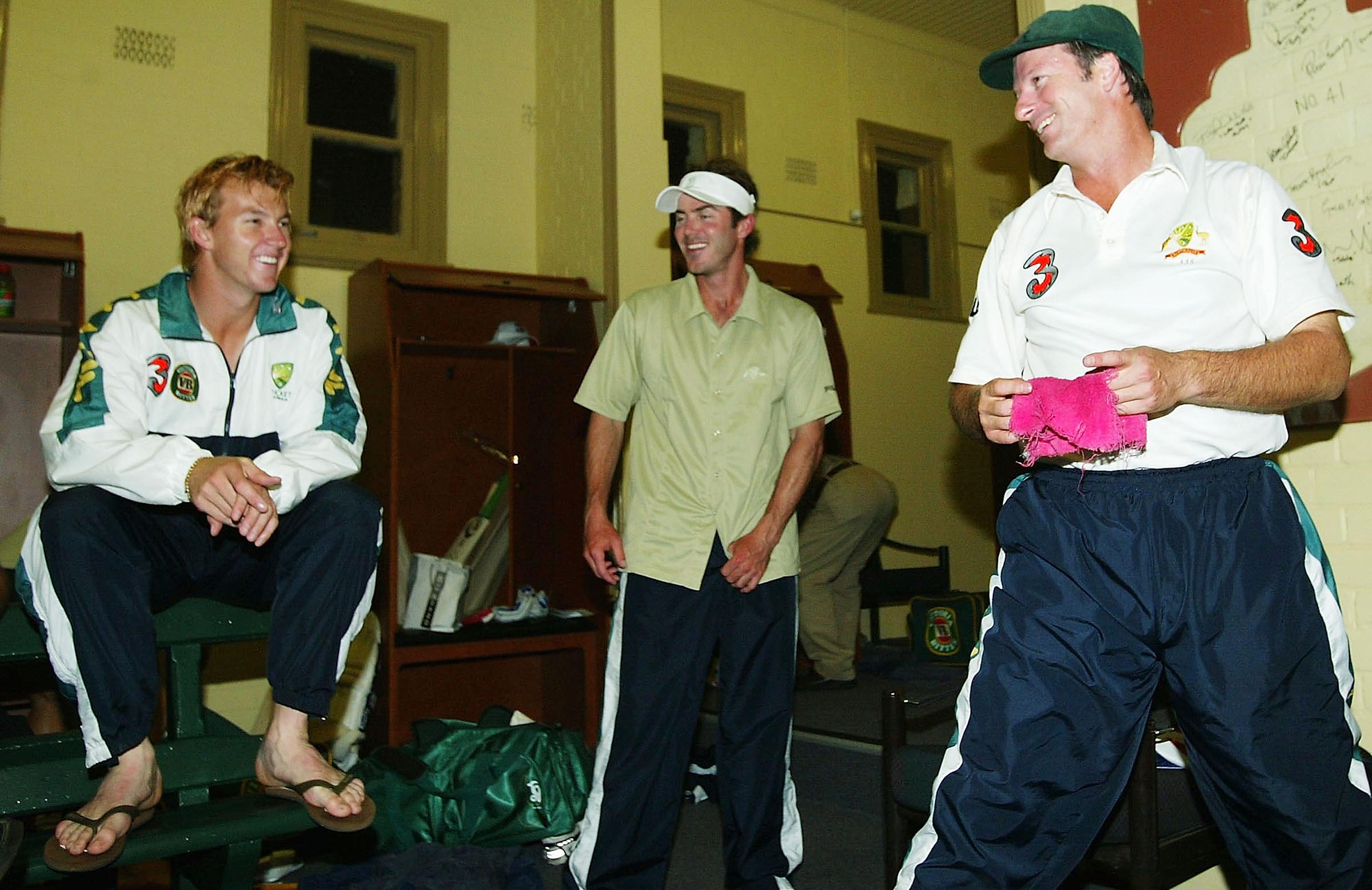 With Brett Lee, Damien Martyn and that old red rag // Getty