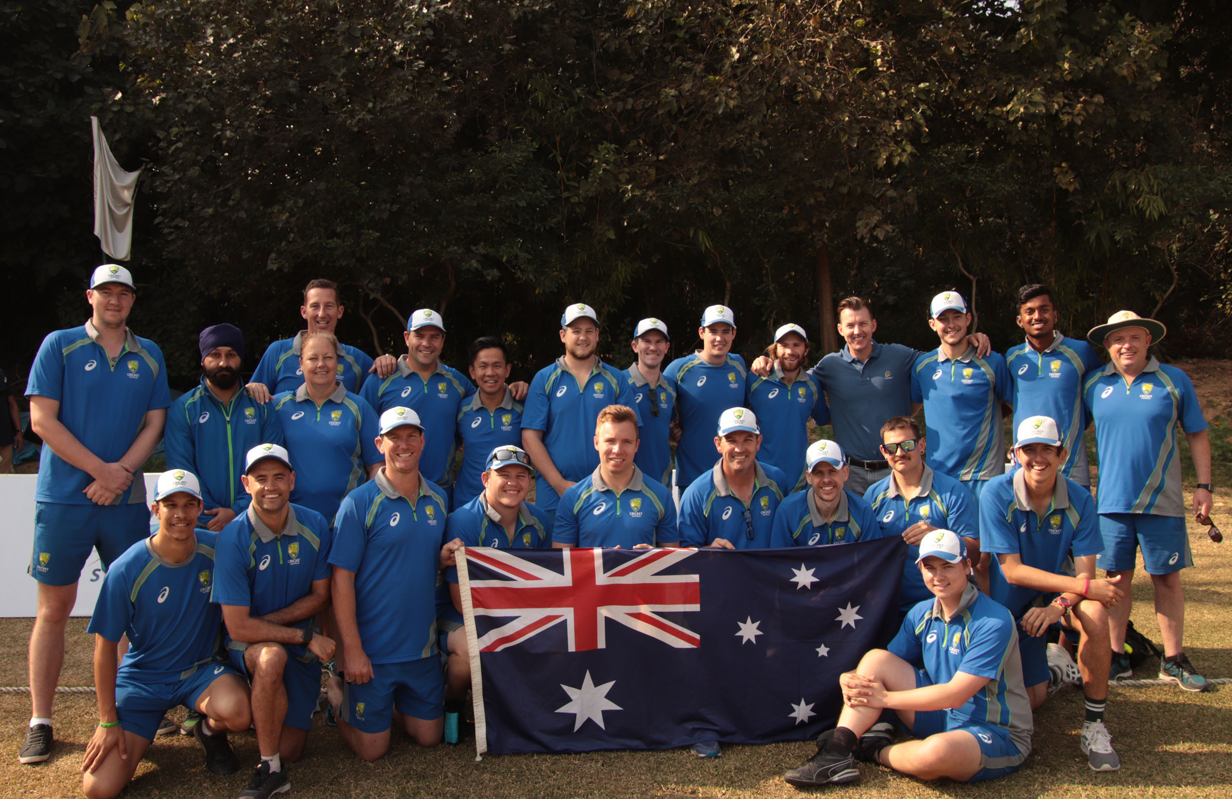 The Aussie squad flying the flag proudly