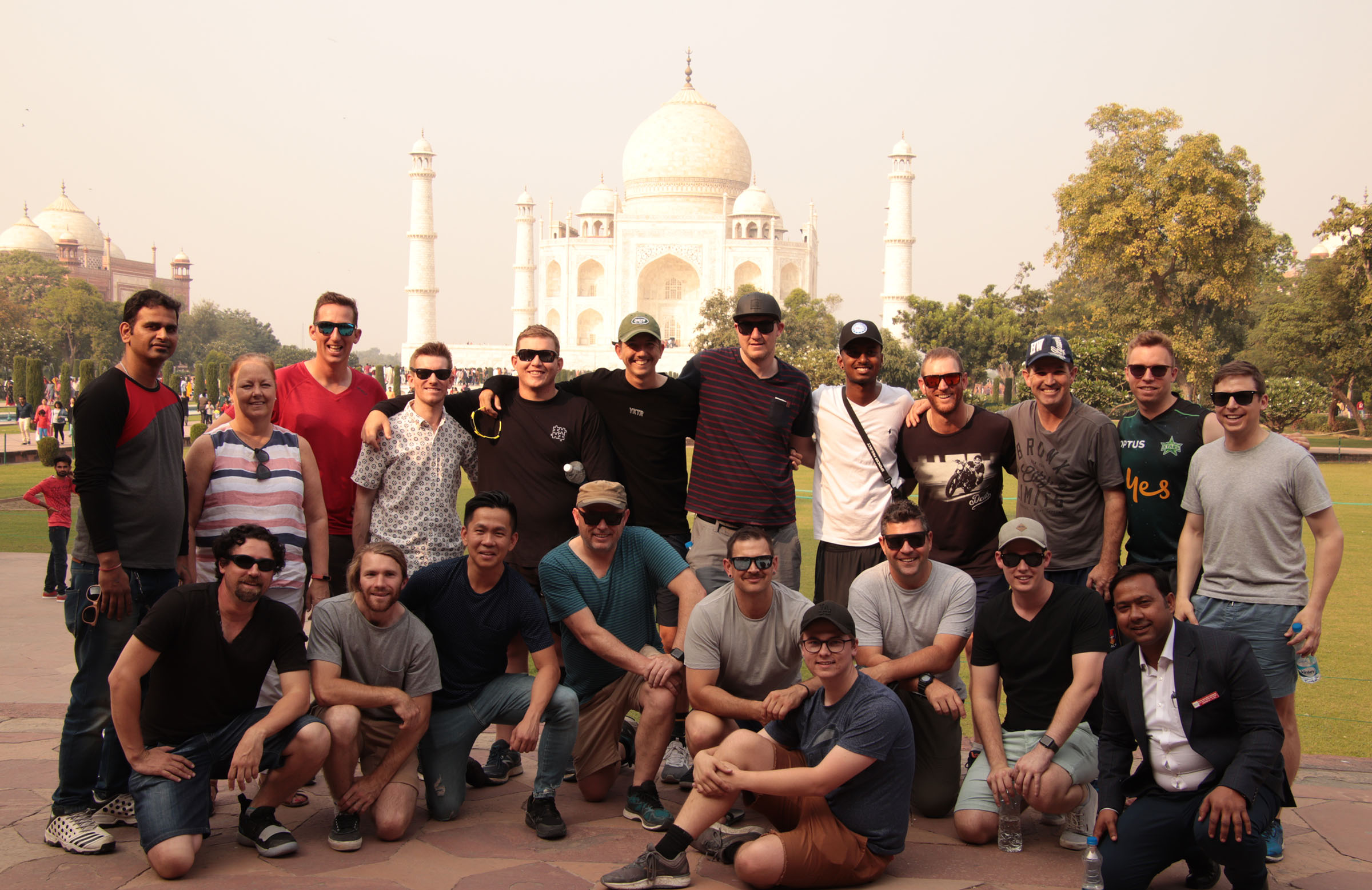 The squad takes in the majesty of the Taj Mahal