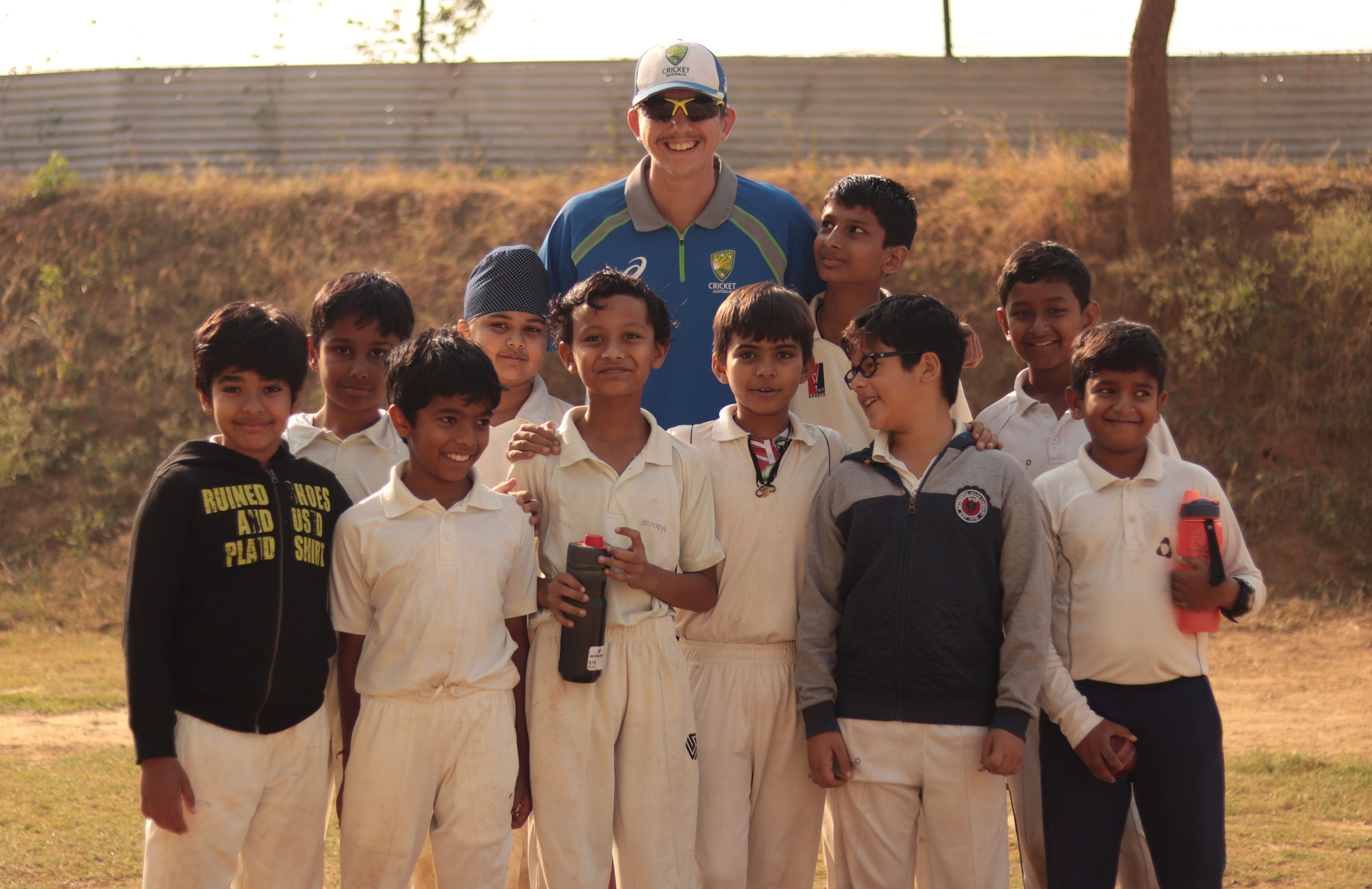 Off-spinner Sean Walsh, from Rockhampton, with some young Indian fans