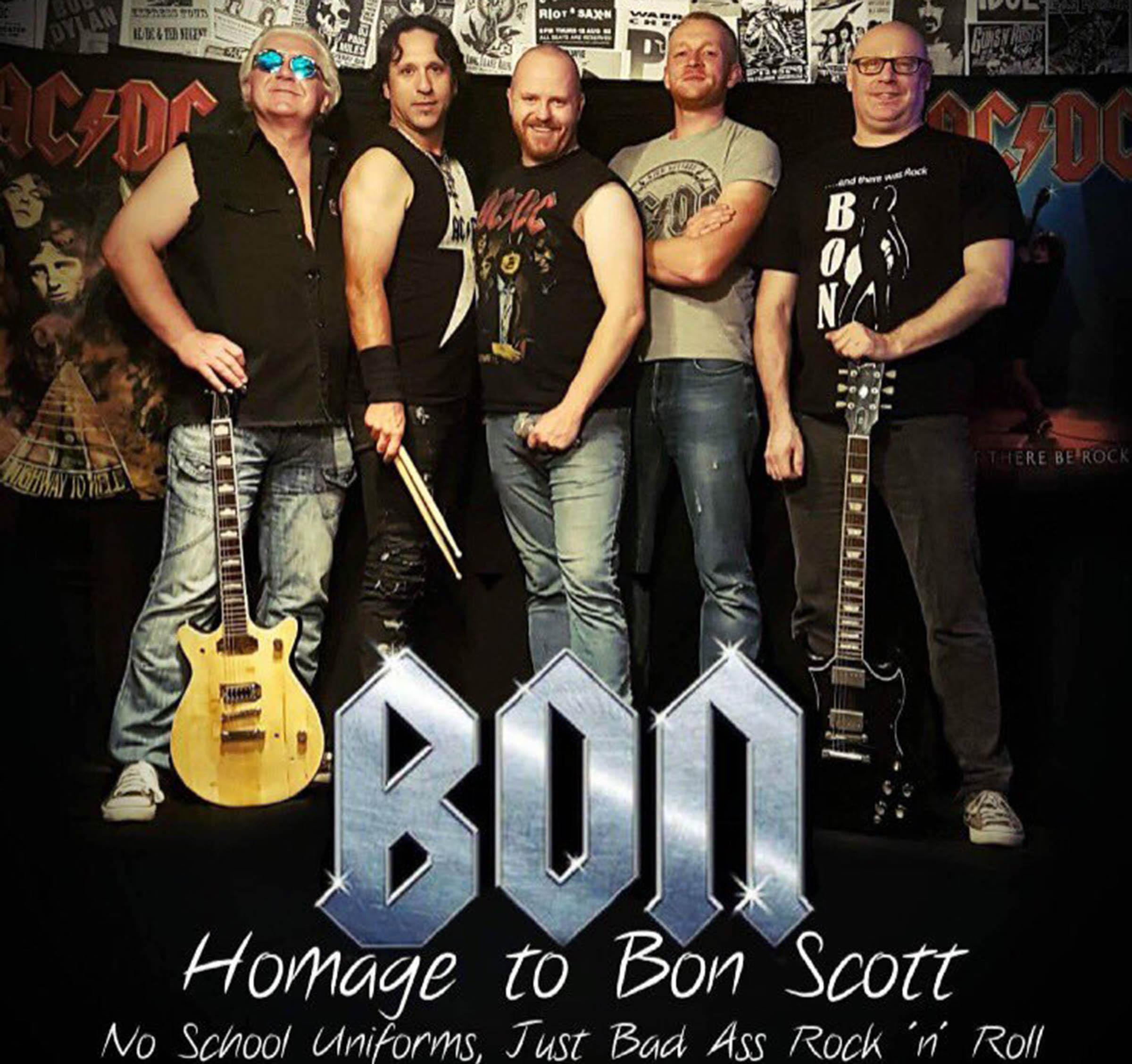Scuderi as part of the Bon Scott tribute band