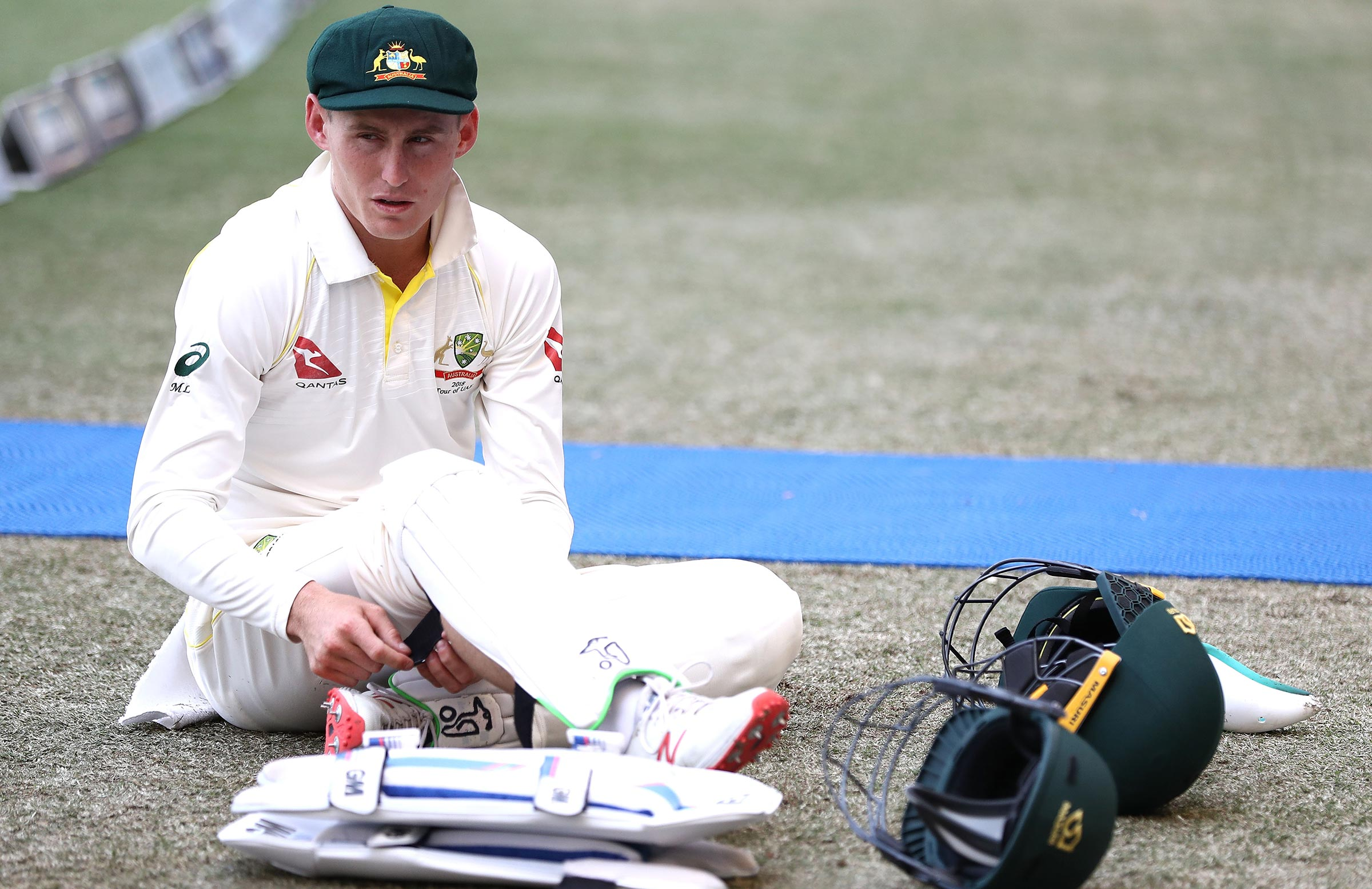 Labuschagne prepares for another stint at short leg // Getty