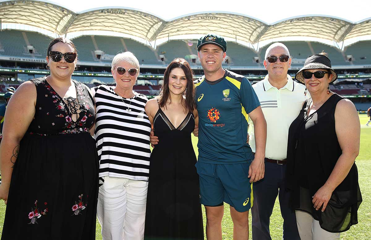 Marcus Harris and family with his brand new Baggy Green // Getty