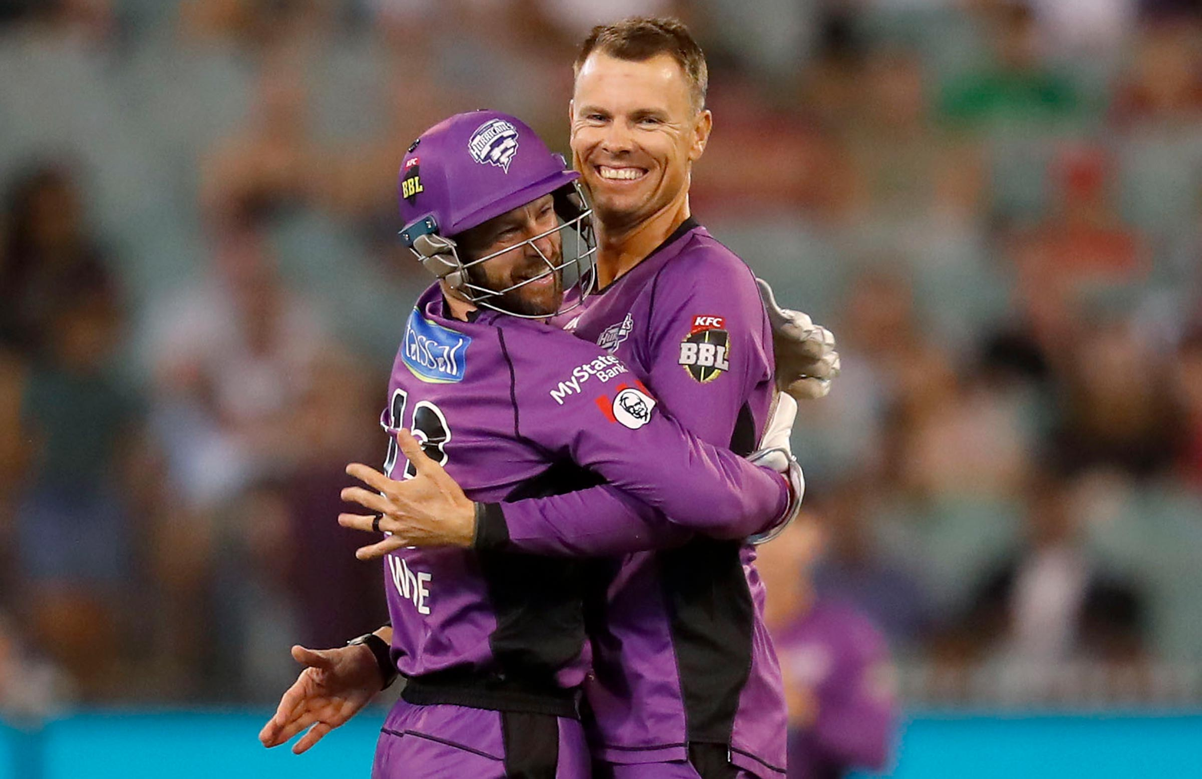 Botha and Matthew Wade celebrate a wicket this season // Getty