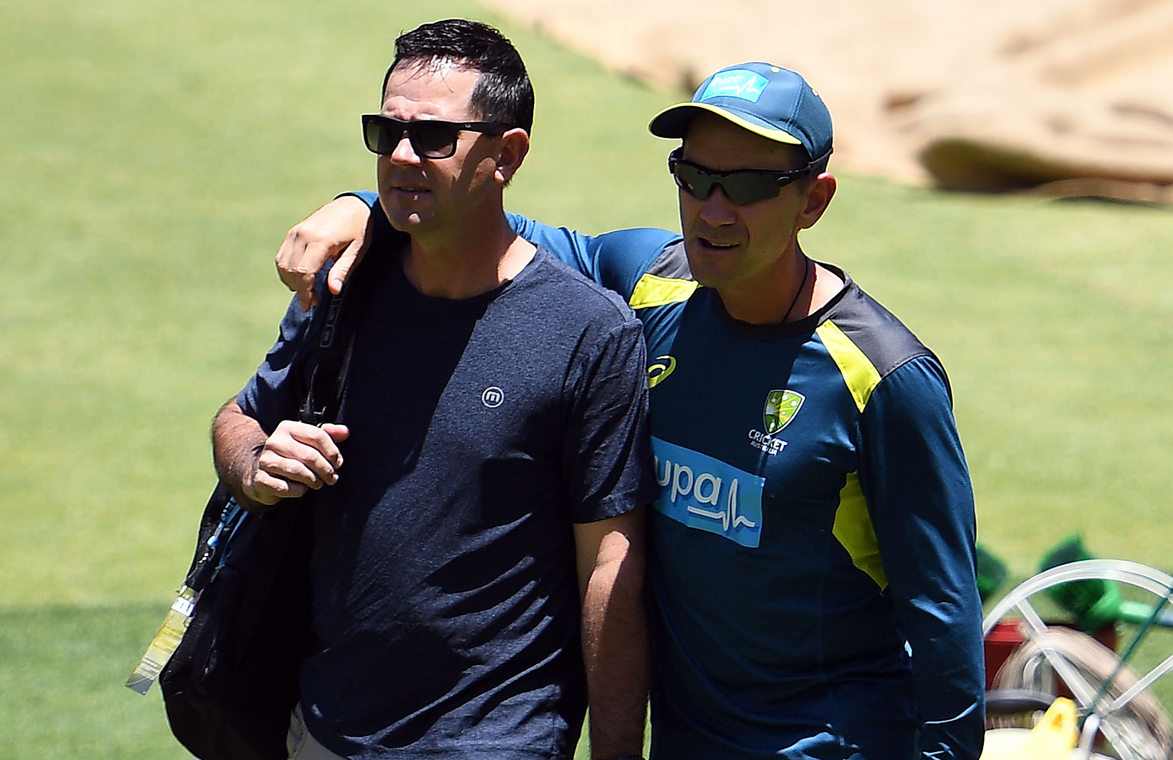 Ponting and Langer at Australia's training session in Perth last year // Getty
