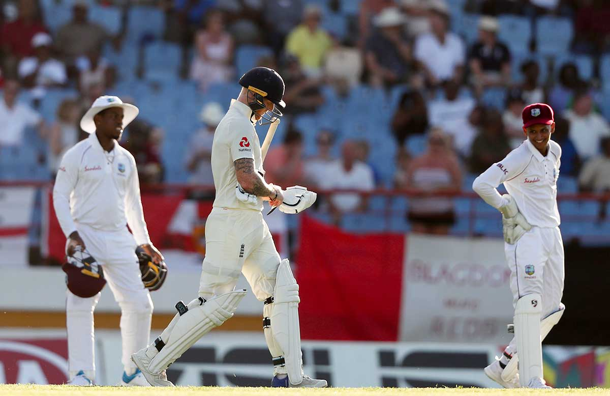 Ben Stokes resumes his innings after non-dismissal // Getty