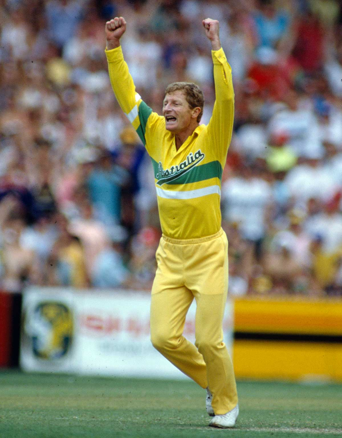 Spinner Peter Taylor celebrates a wicket