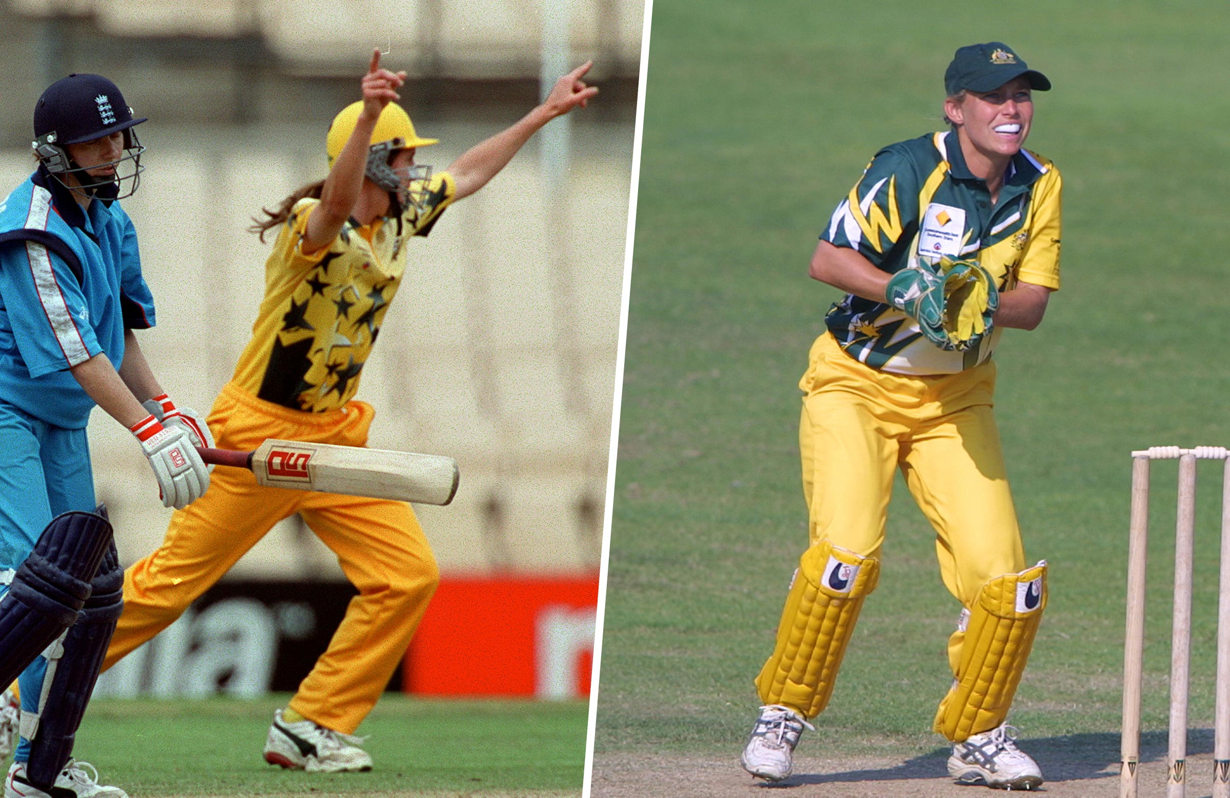 Australia's predominately gold 2000 kit (left) and their 2001 version // Getty Images
