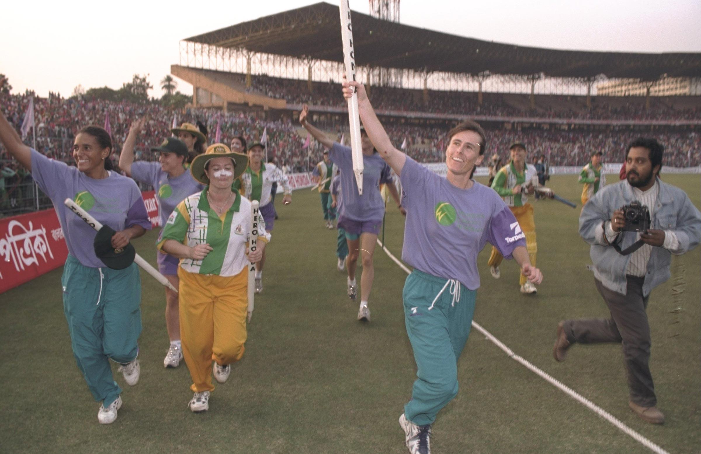 Australia celebrate winning the 1997 World Cup at Kolkata's Eden Gardens // Getty