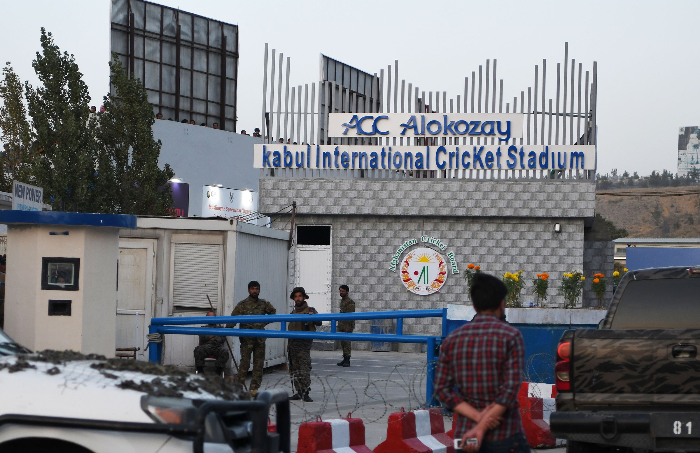 Security outside the Kabul Stadium following the bomb blast in September 2017 // Getty