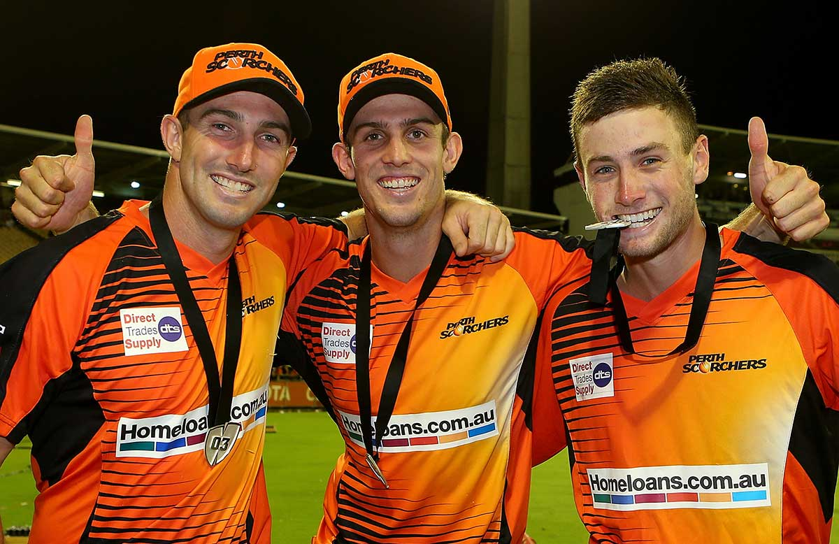 Shaun and Mitch Marsh and Sam Whiteman celebrate the BBL|03 title // Getty