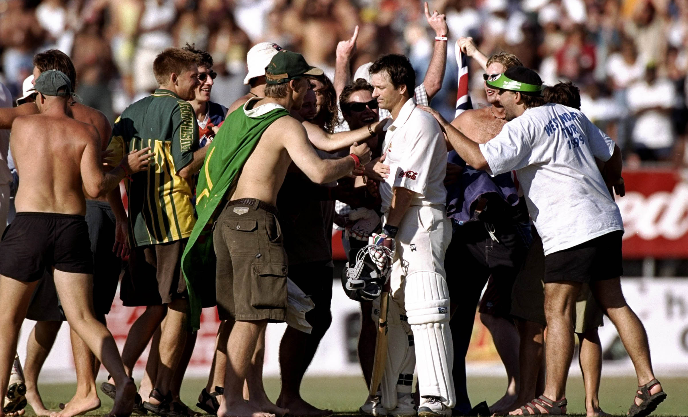 Steve Waugh is mobbed after posting his first hundred as Test captain // Getty