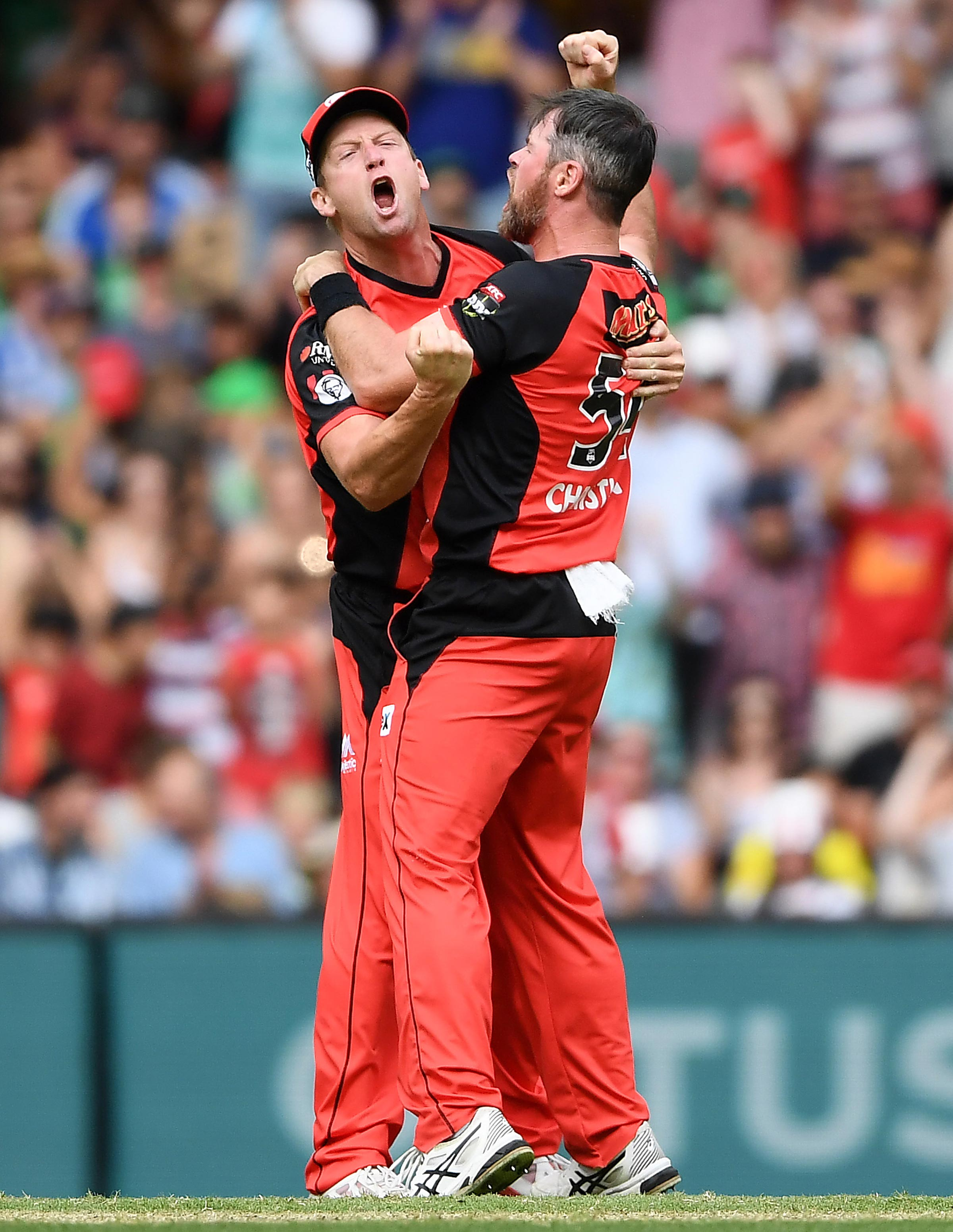 White and Dan Christian celebrate in the BBL final // Getty