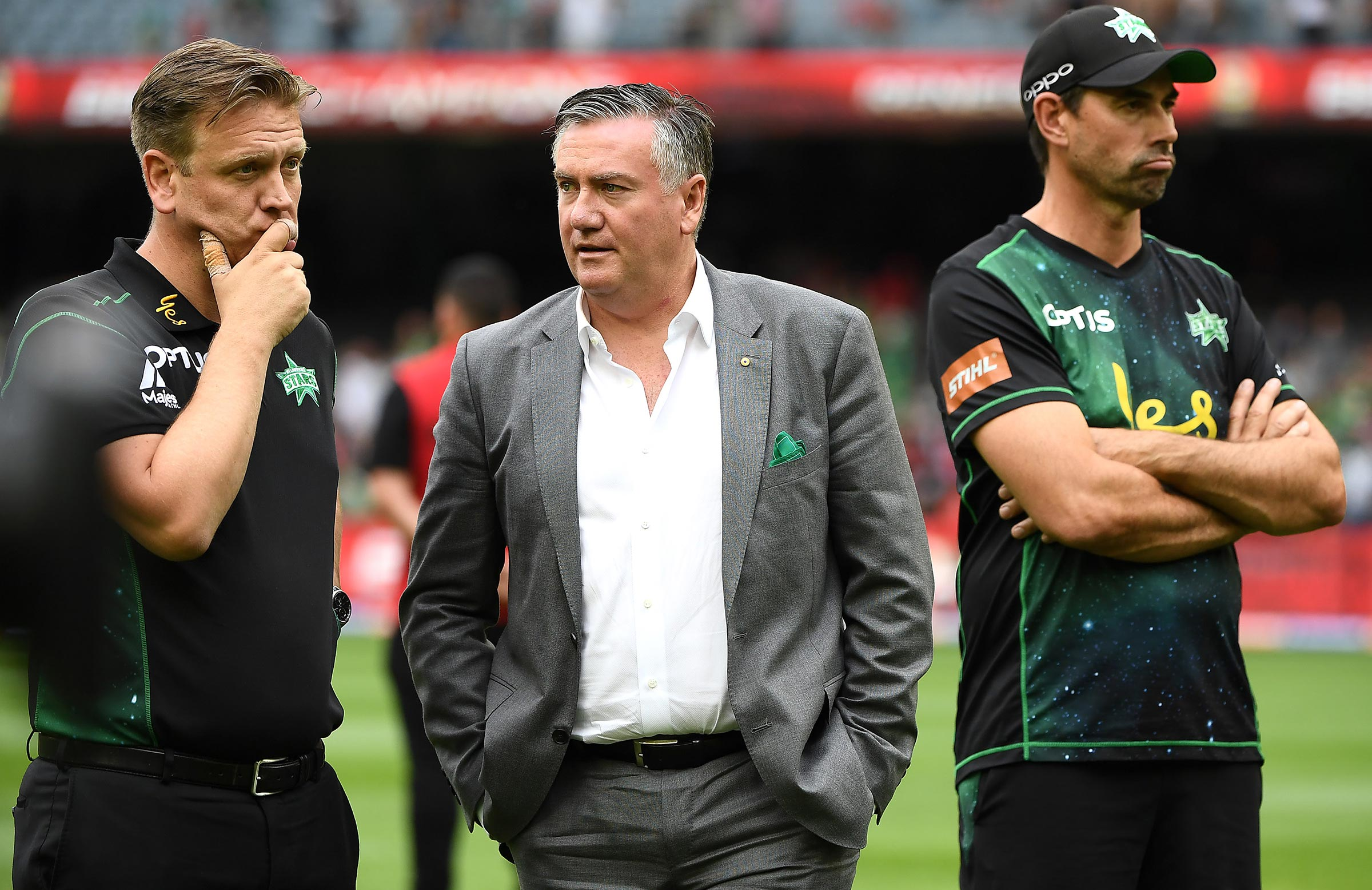 Clint Cooper, Eddie McGuire and Fleming after the BBL final // Getty