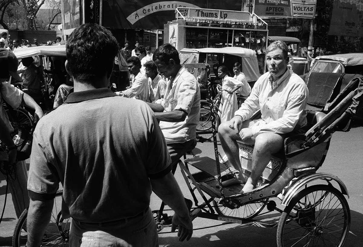 A candid Shane Warne rides a rickshaw // Trent Parke / Magnum Photos