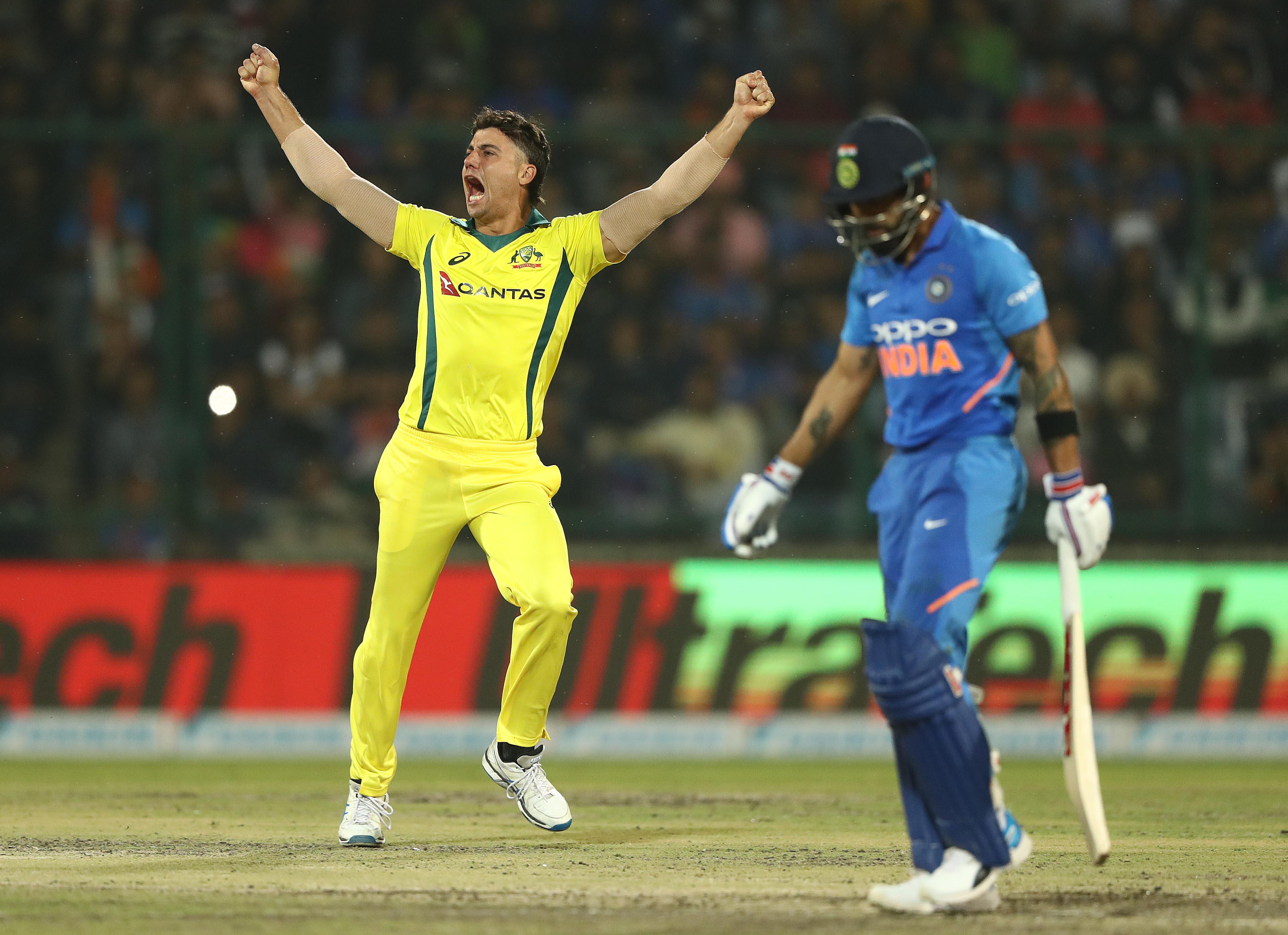 Stoinis celebrates the key wicket of Kohli // Getty