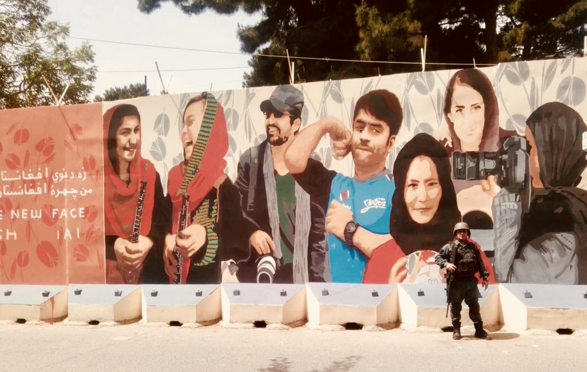 A street mural in Kabul depicts Rashid Khan