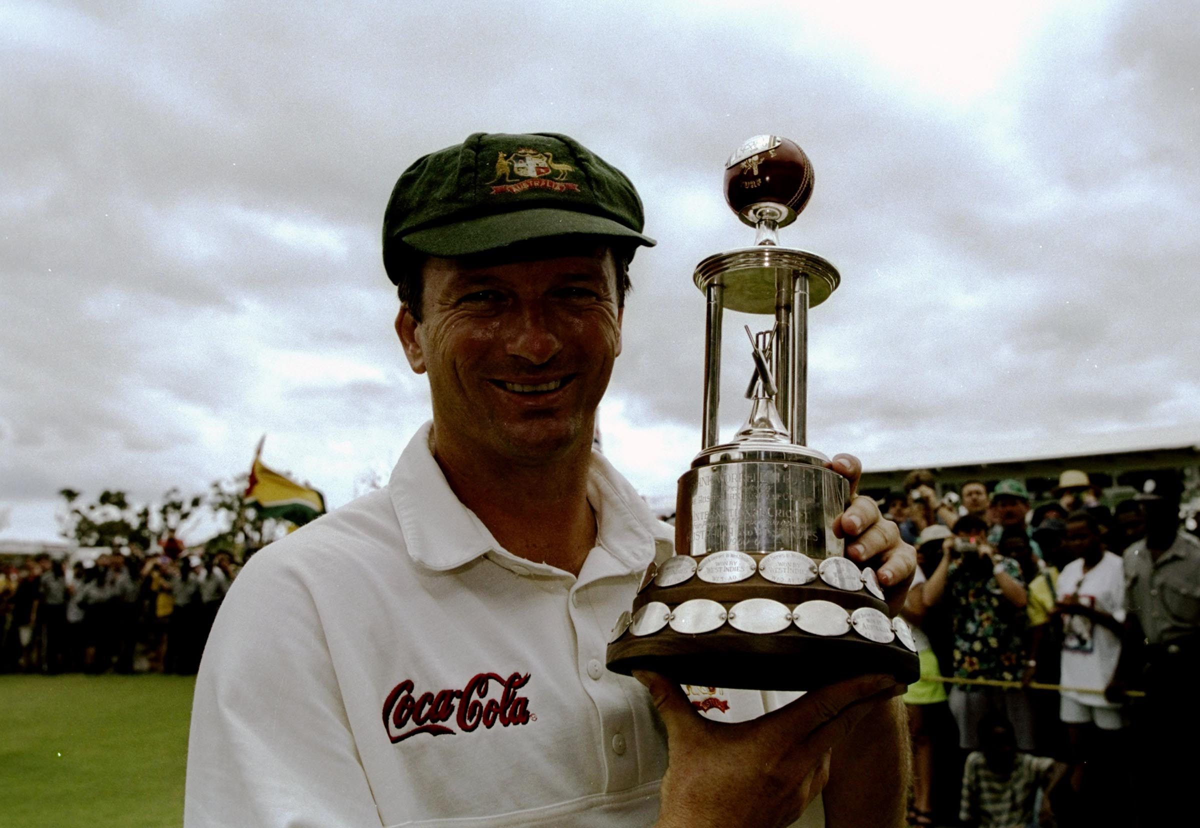Waugh with the cherished Frank Worrell Trophy // Getty