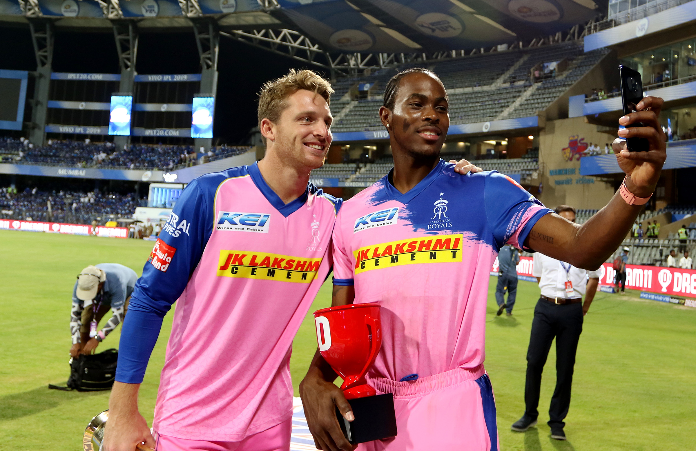 Buttler (left) and Jofra Archer toast Rajasthan's win // BCCI