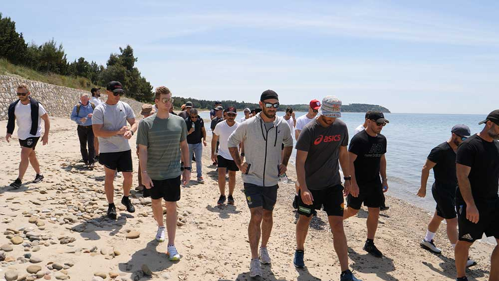 The Australians walk the beach of ANZAC Cove // Andre Mauger