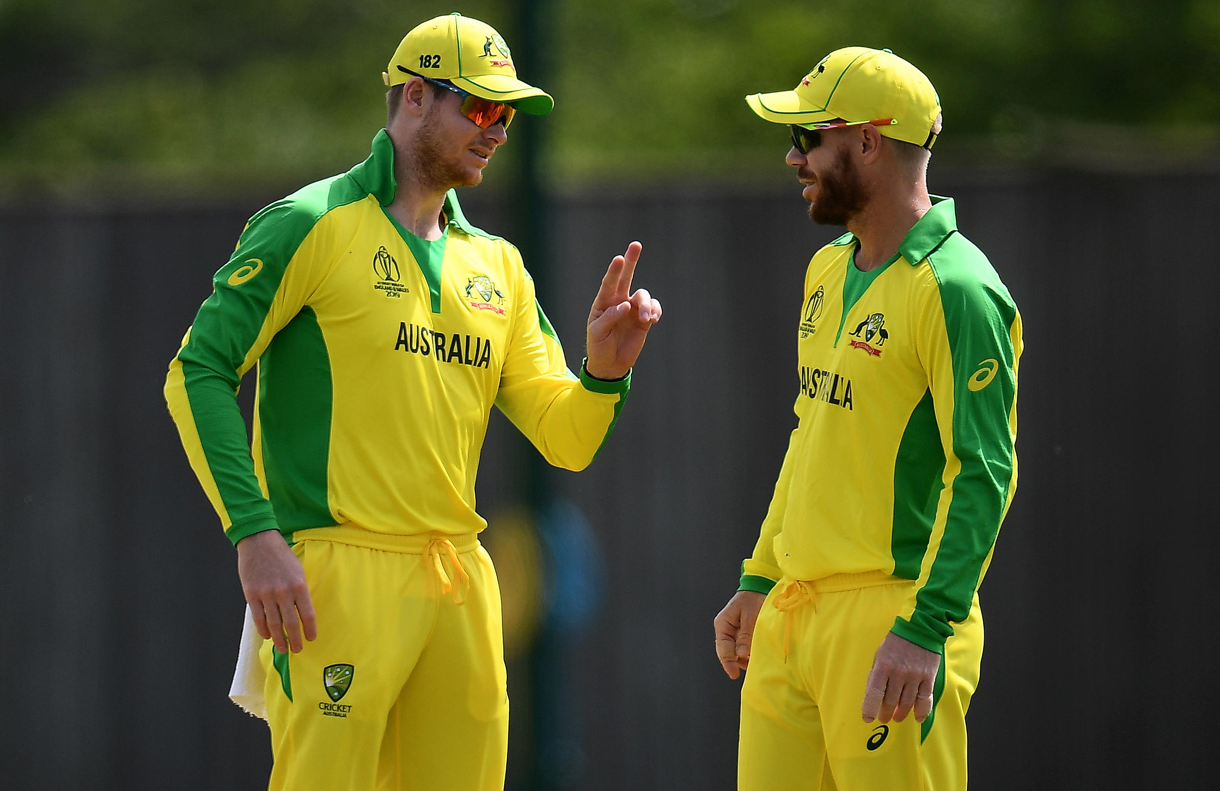 Smith and Warner in the field against the Windies // Getty