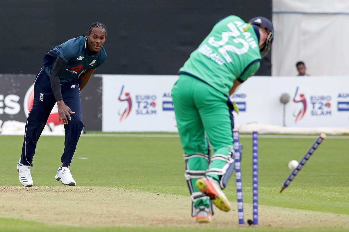 Jofra Archer's maiden ODI wicket // AFP