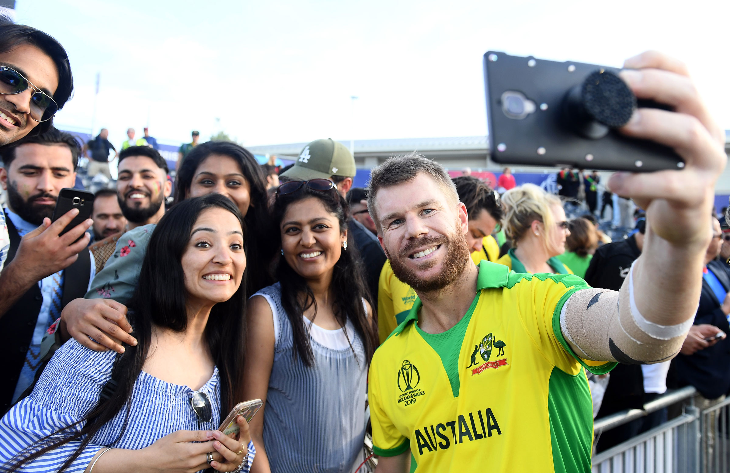 Warner takes selfies with the Bristol crowd // Getty